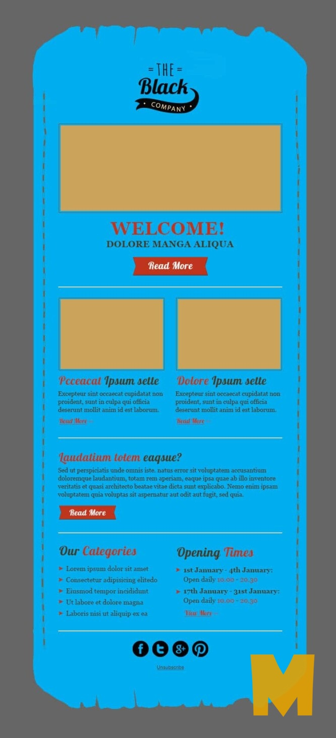 Free PSD Vintage Email Template Design