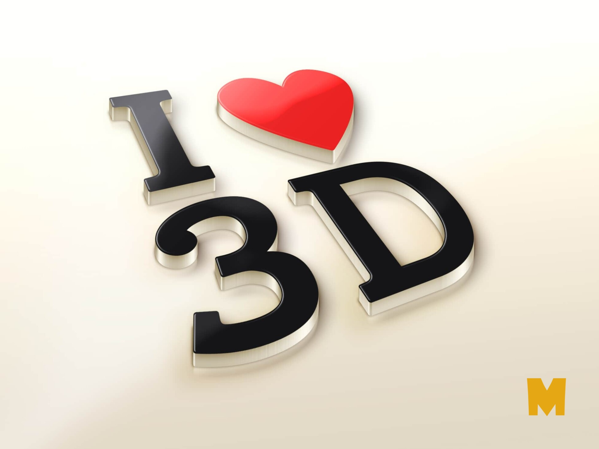 I Love 3D logo Mock-Up