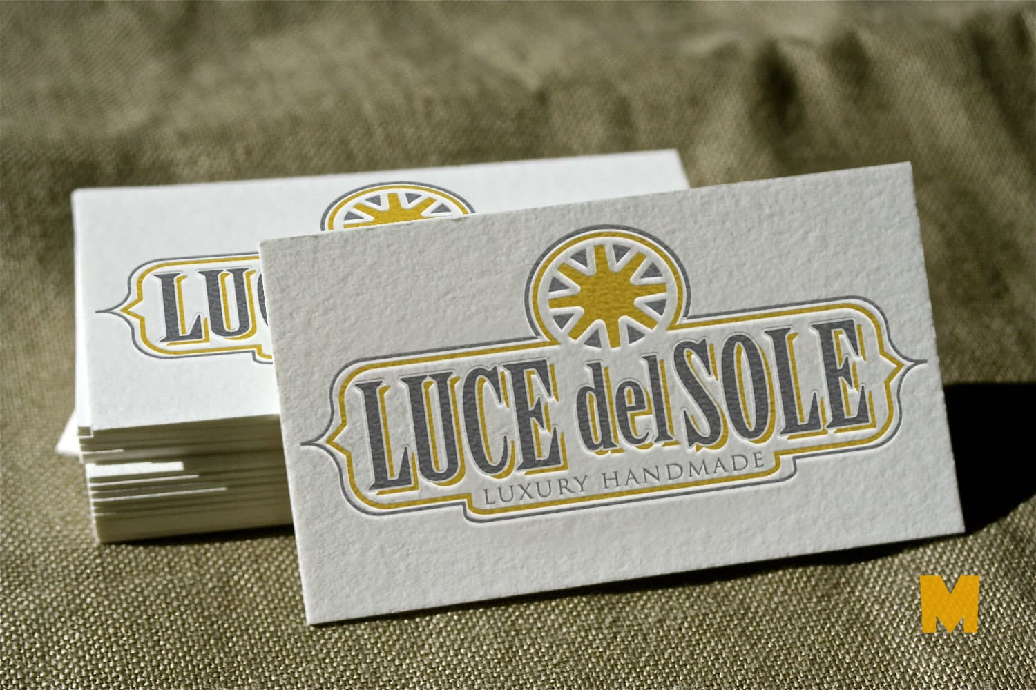 business card on fine texture mockup