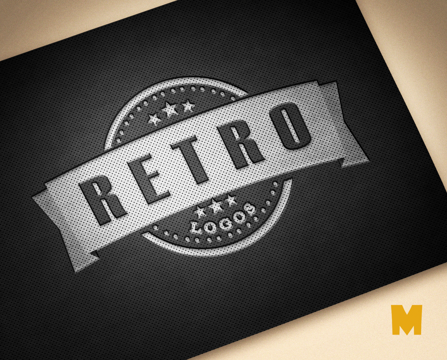 Retro Leather Logo Mockup PSD