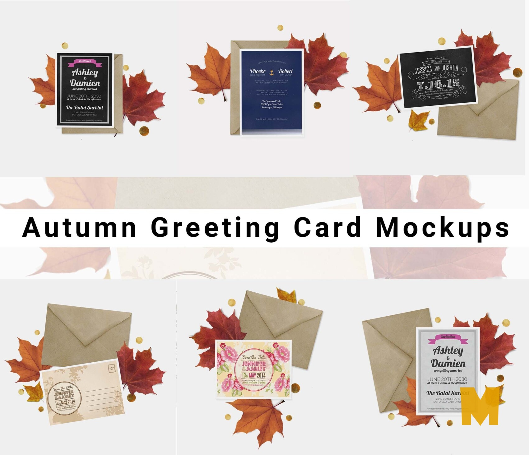 autumn Greeting cards mockups