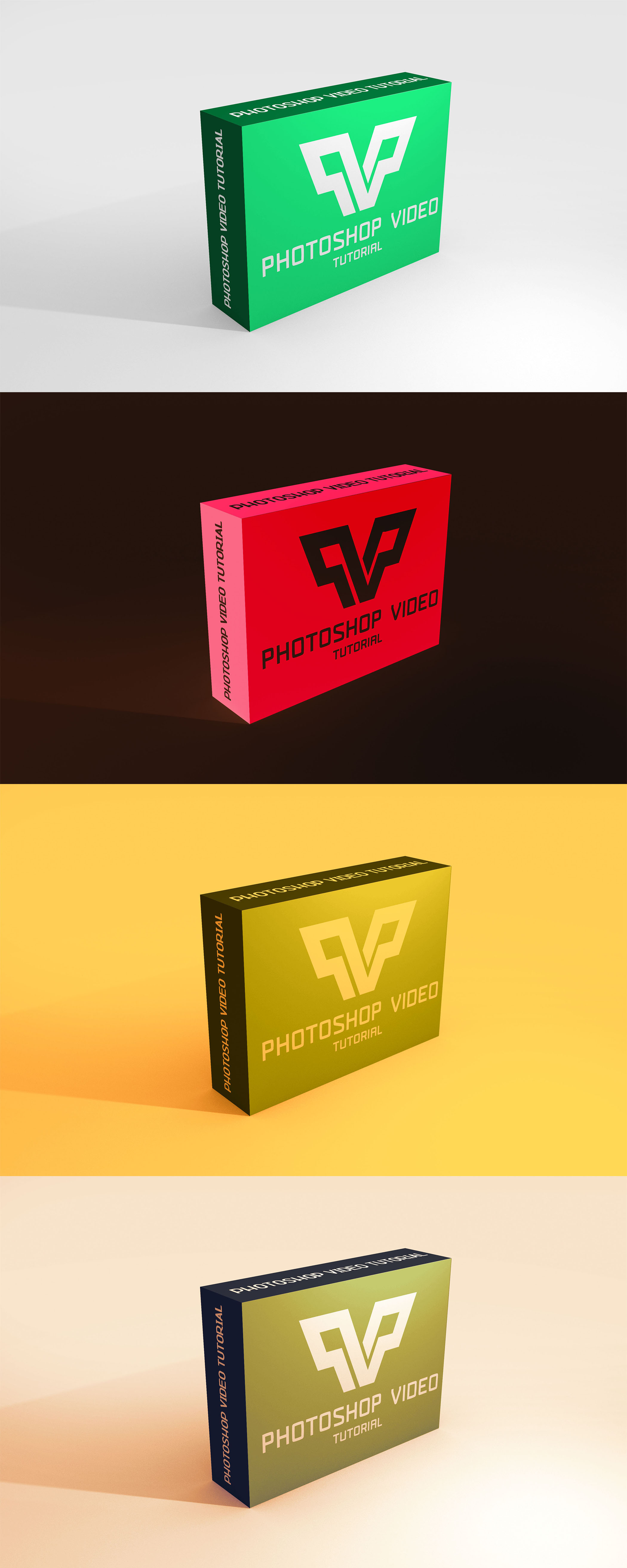 Colourful 3D Box Mockup