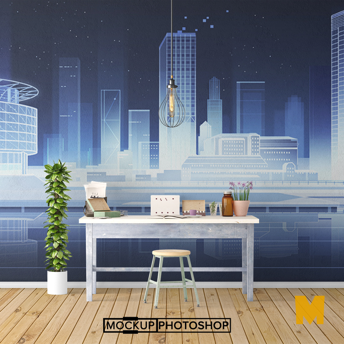 Free Wall Sticker Mockup