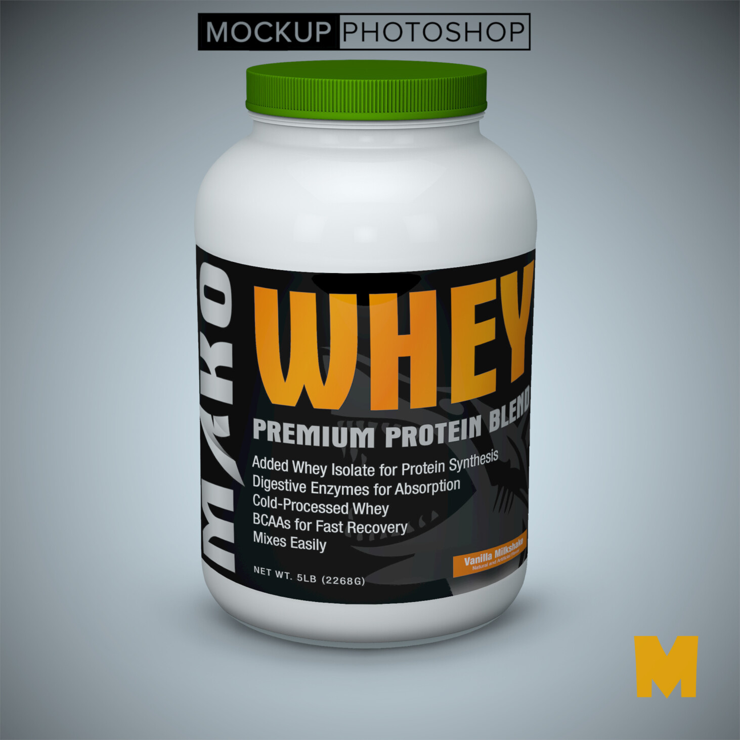 GYM Protein Bottle Label Mockups