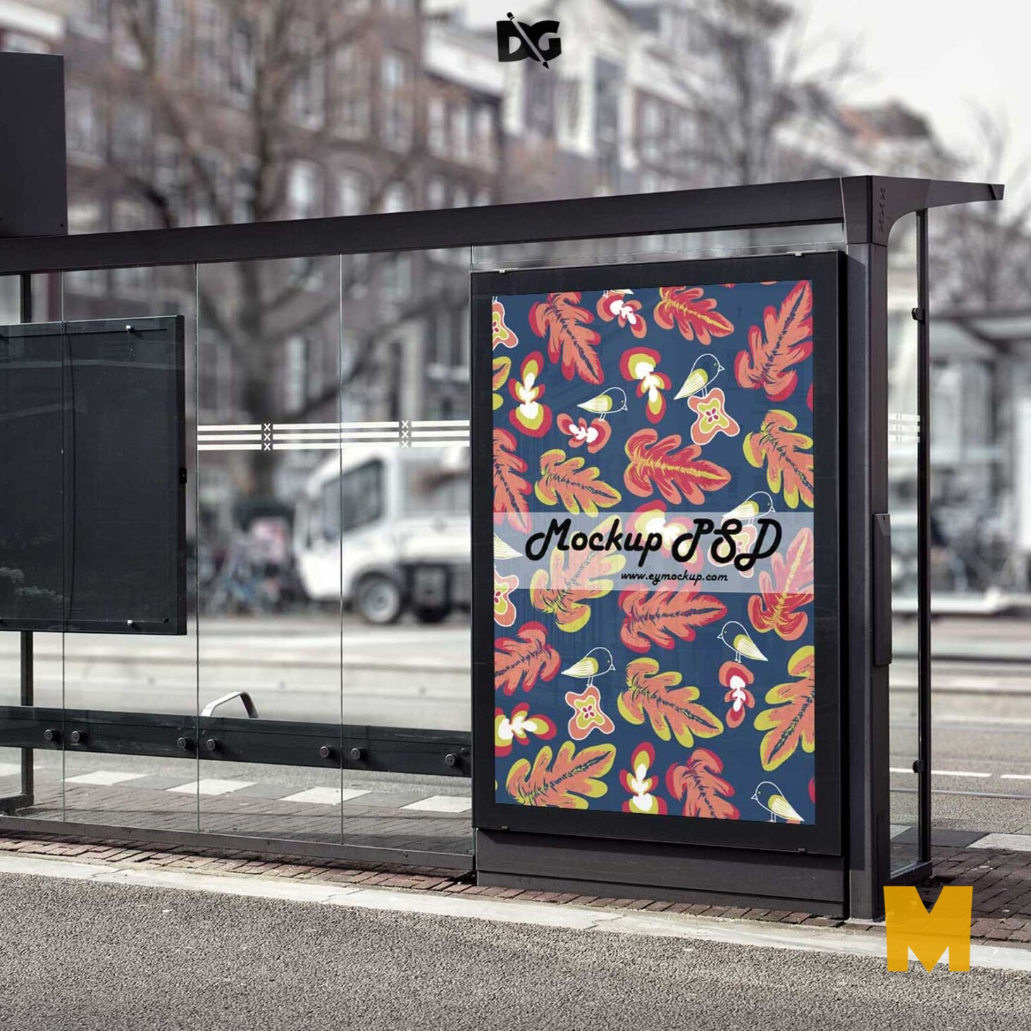 Bus Stop Billboard MockUp.