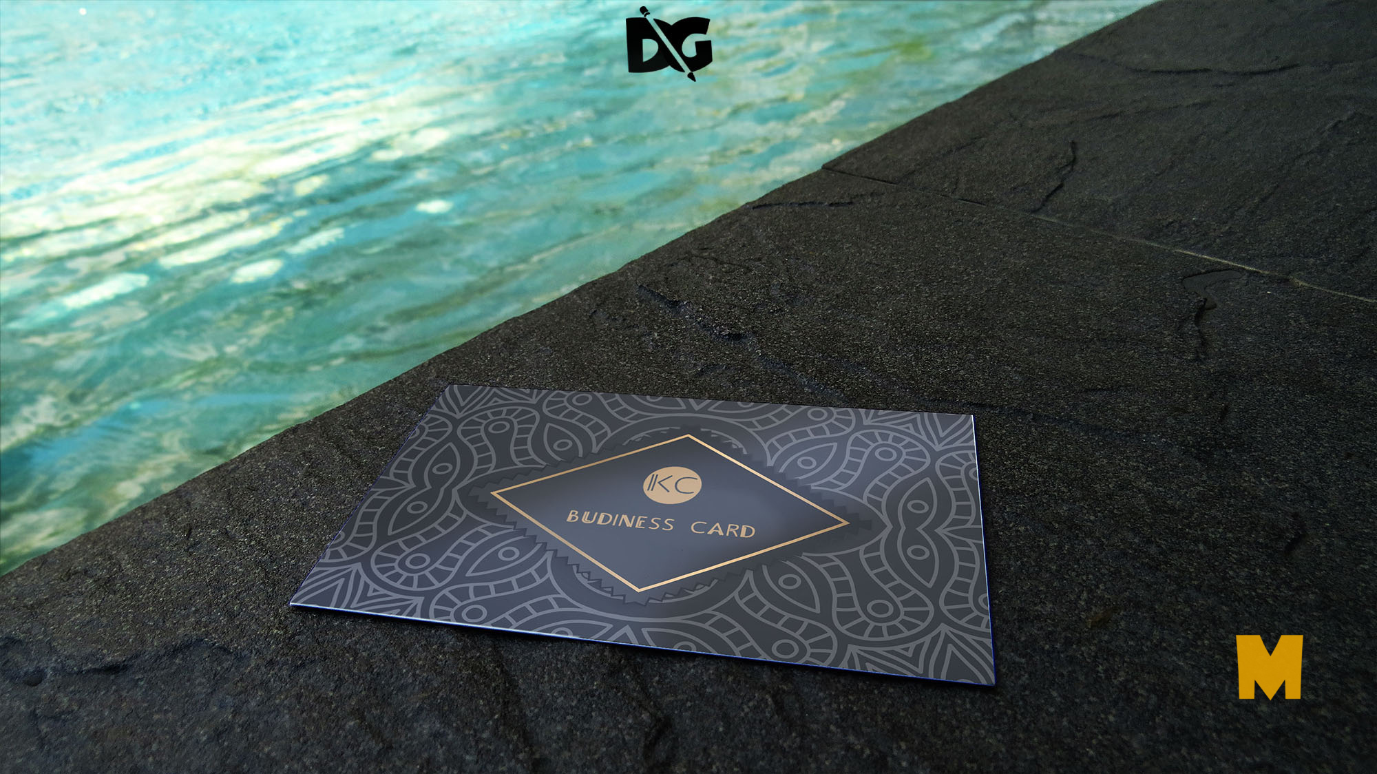 Business Card Pool Side Mockup Presentation