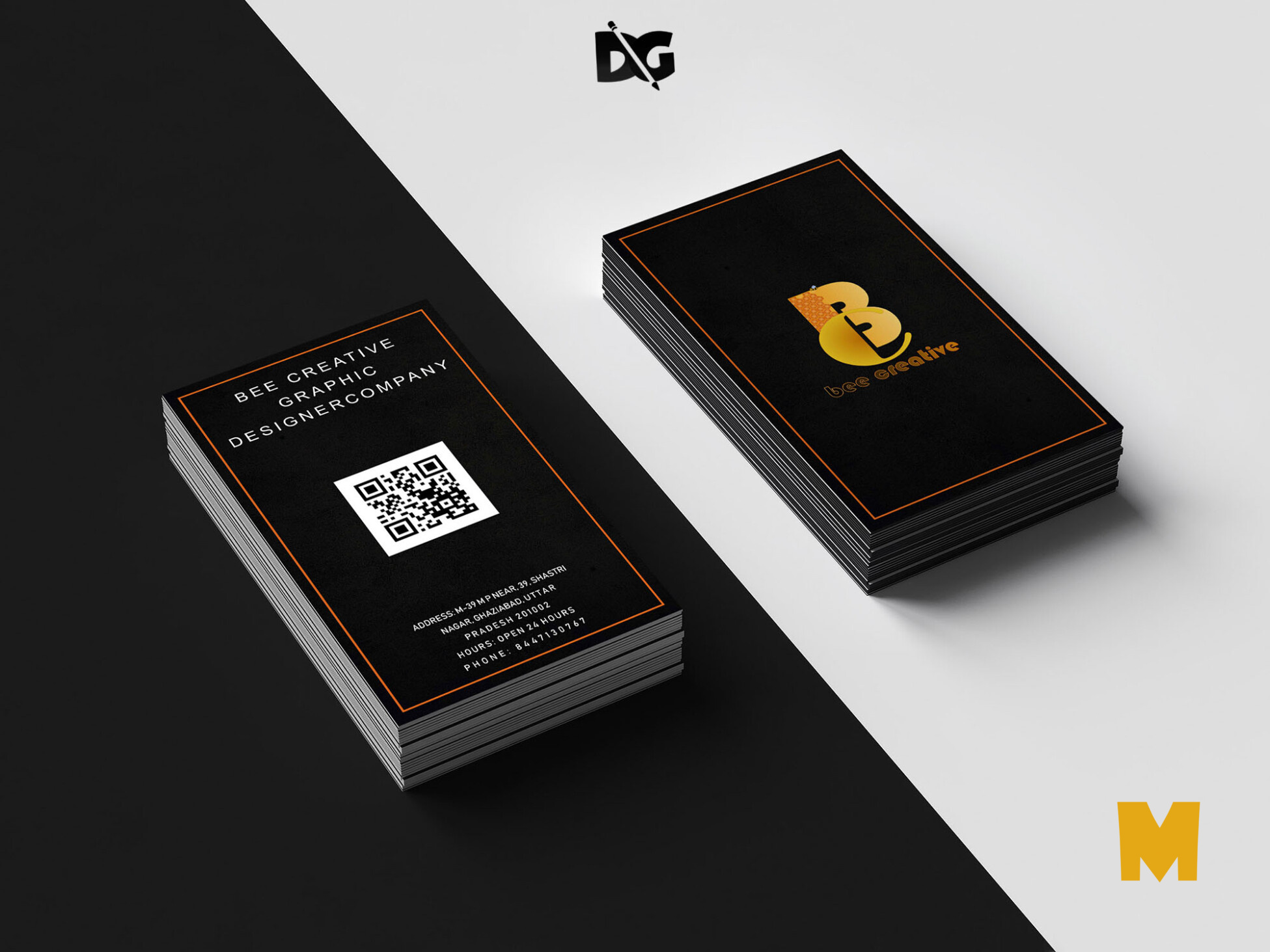 Black Color Business Card Mockup