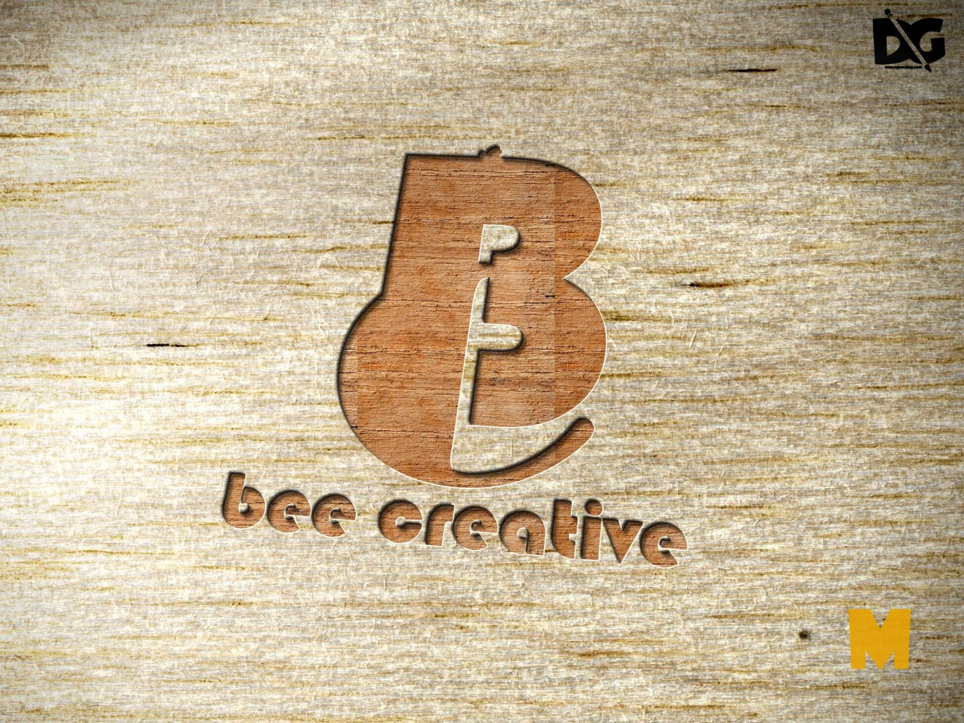 Wood PSD Logo Mock-up