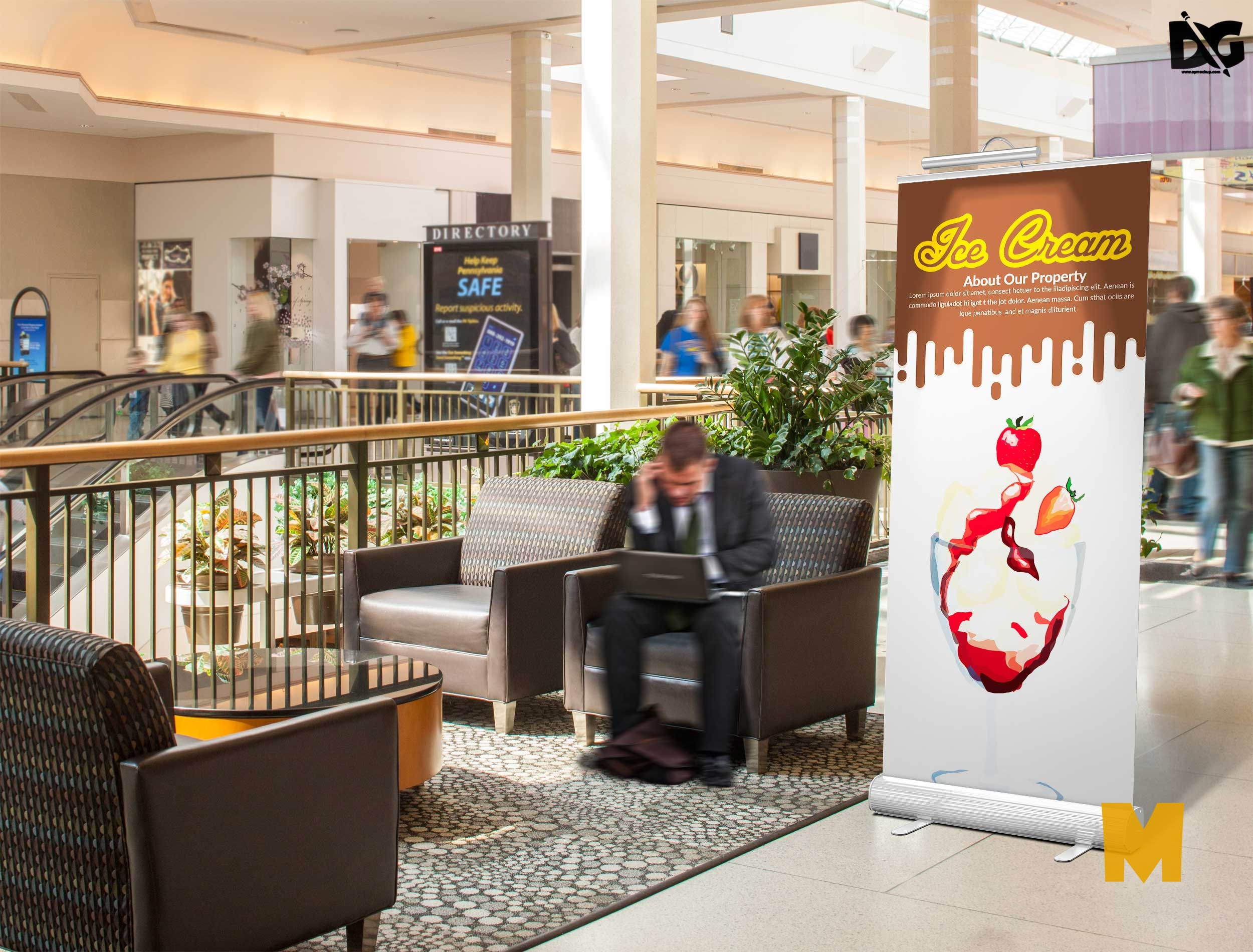 Free Hotel Lobby rollup Banner Mockup