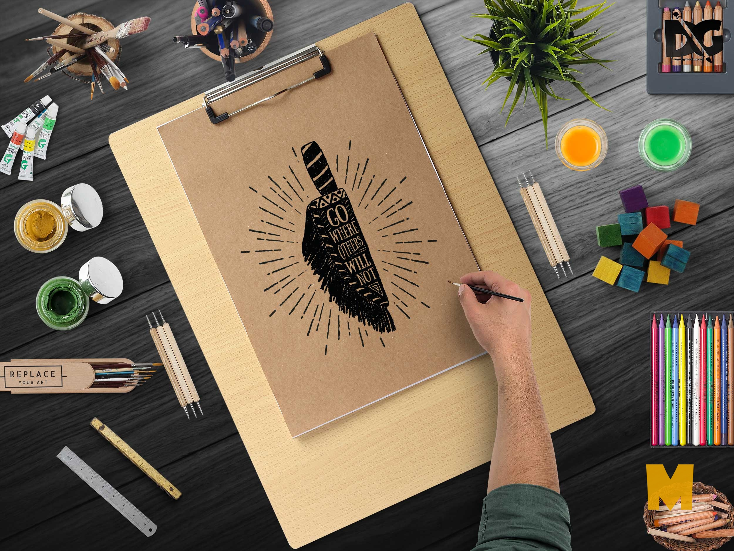 Free Mock-up Plain Art Presentation PSD