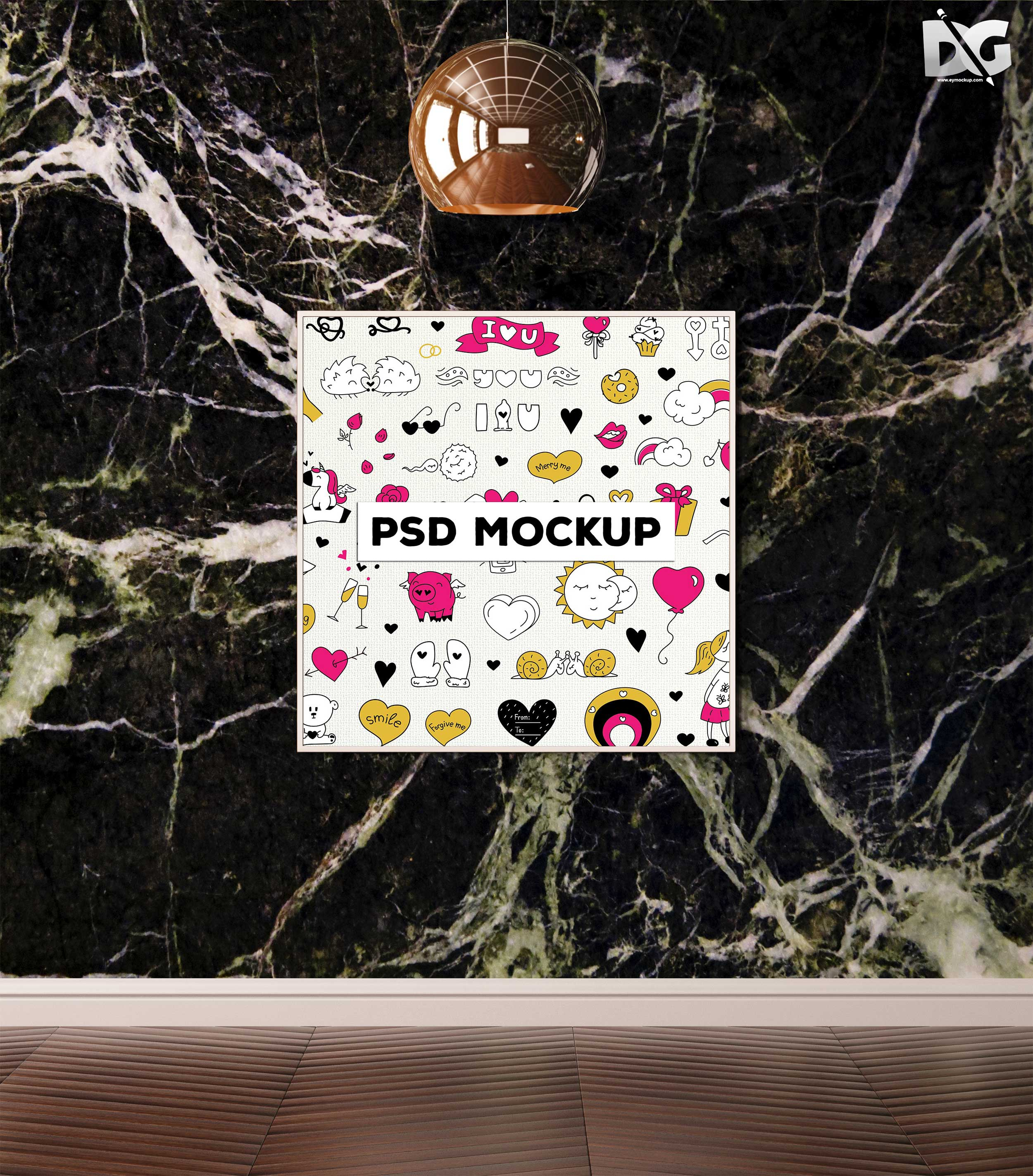 Free Mock-up Plain Poster Presentation PSD