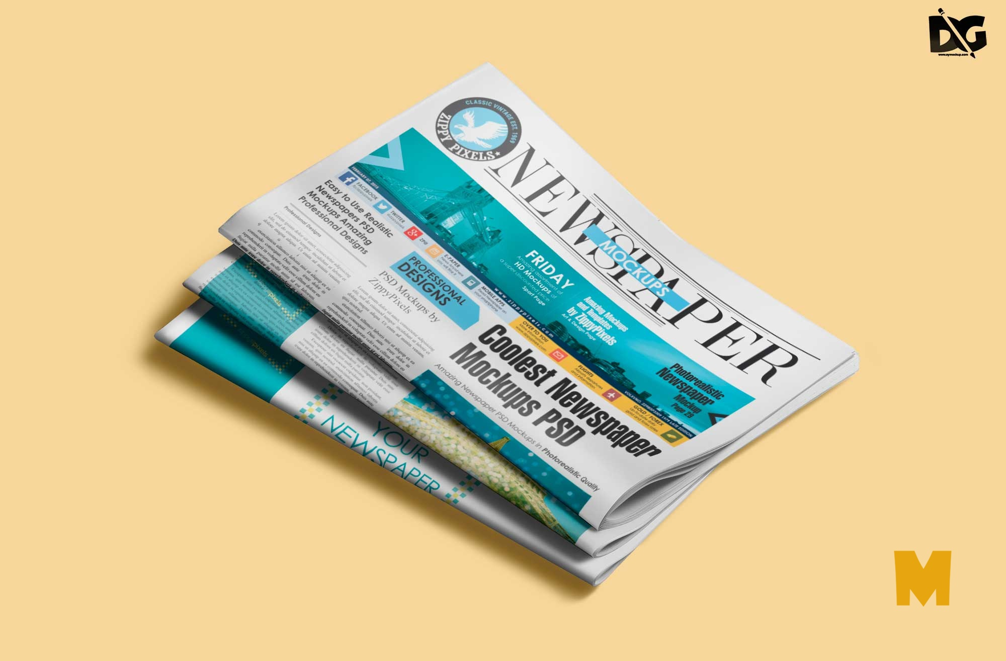 Folded Newspaper Mockup