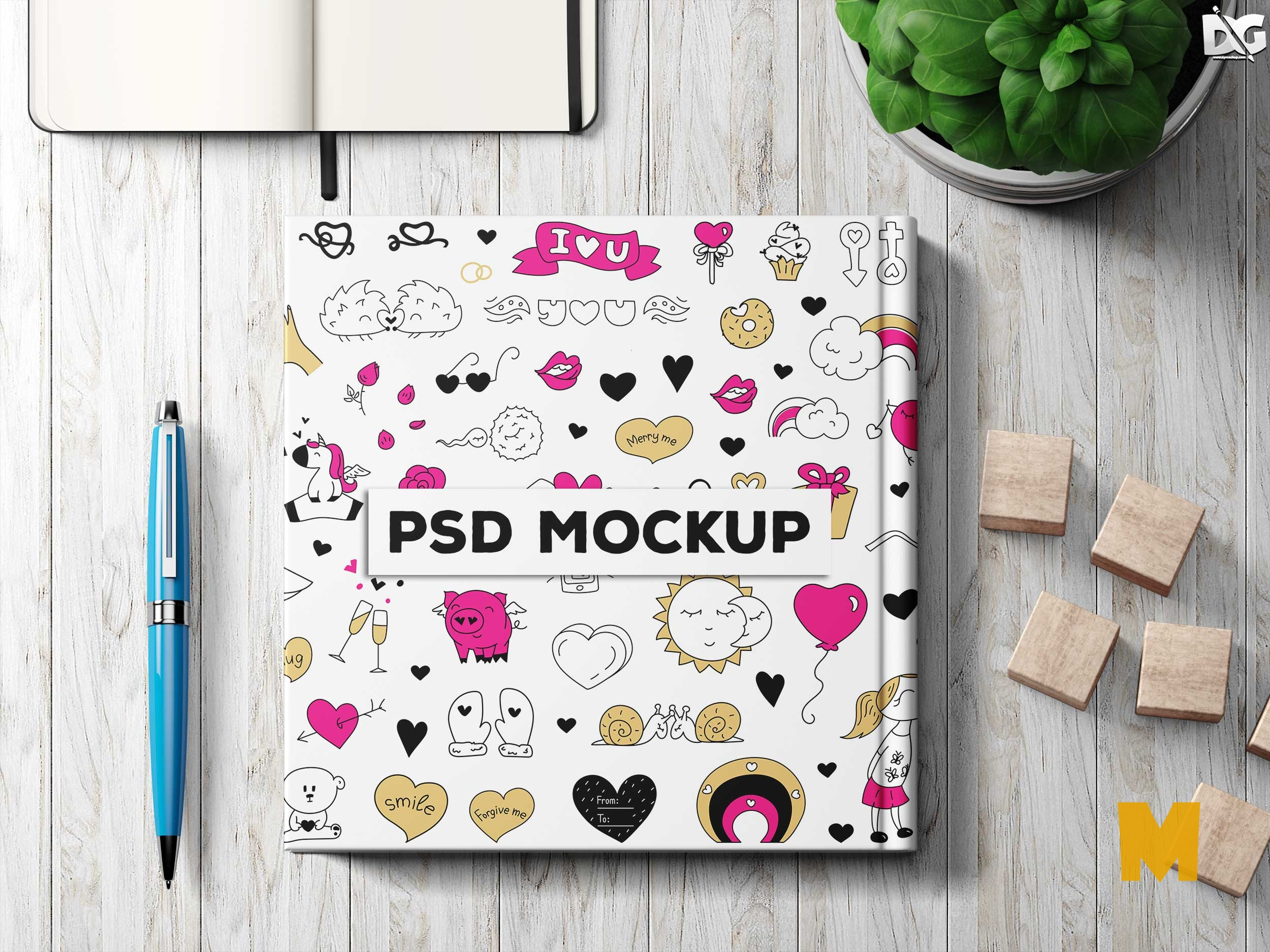 Free PSD Pencil Book Cover Design Mockup
