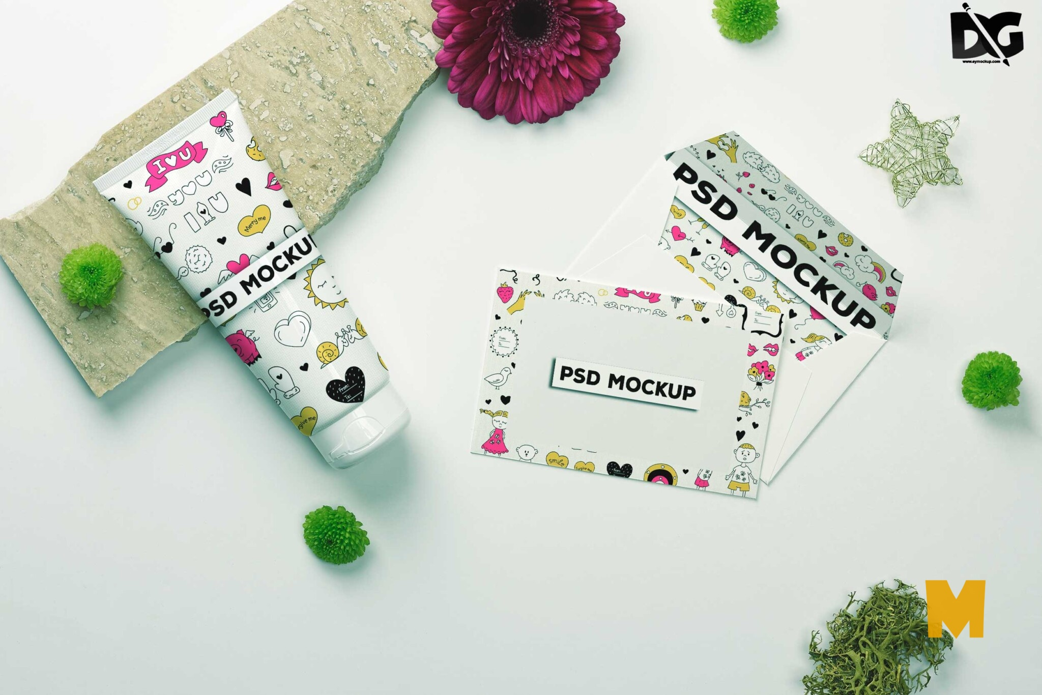 Free Handcream Postcard Mockup