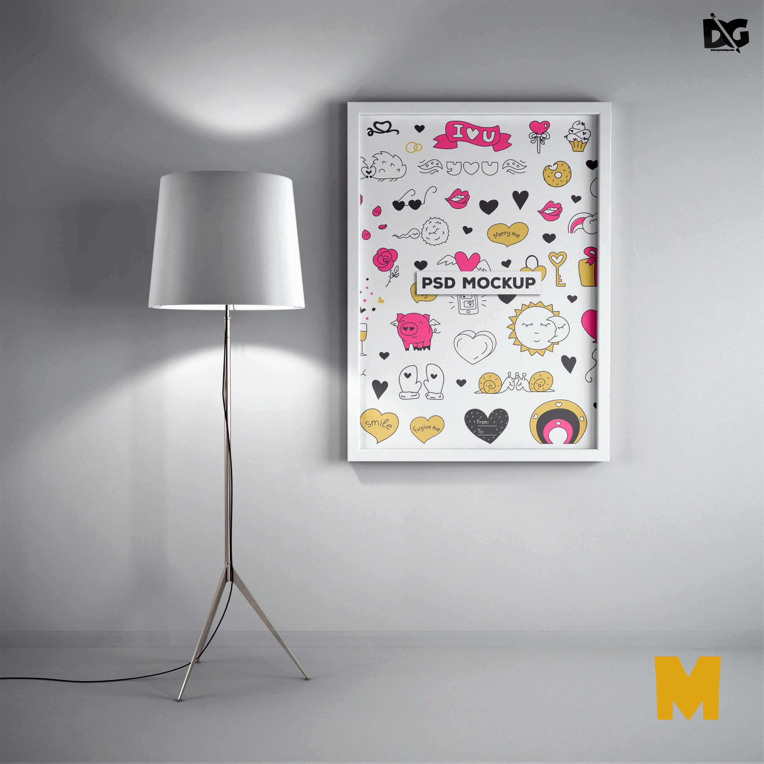 Free White Wall Poster Colorful Design PSD Mockups