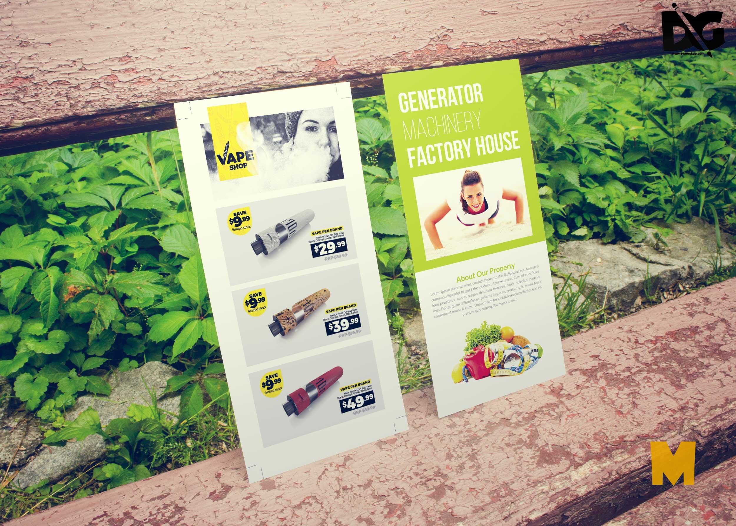 Free Wood Seat Supported DL Flyer PSD Mockup
