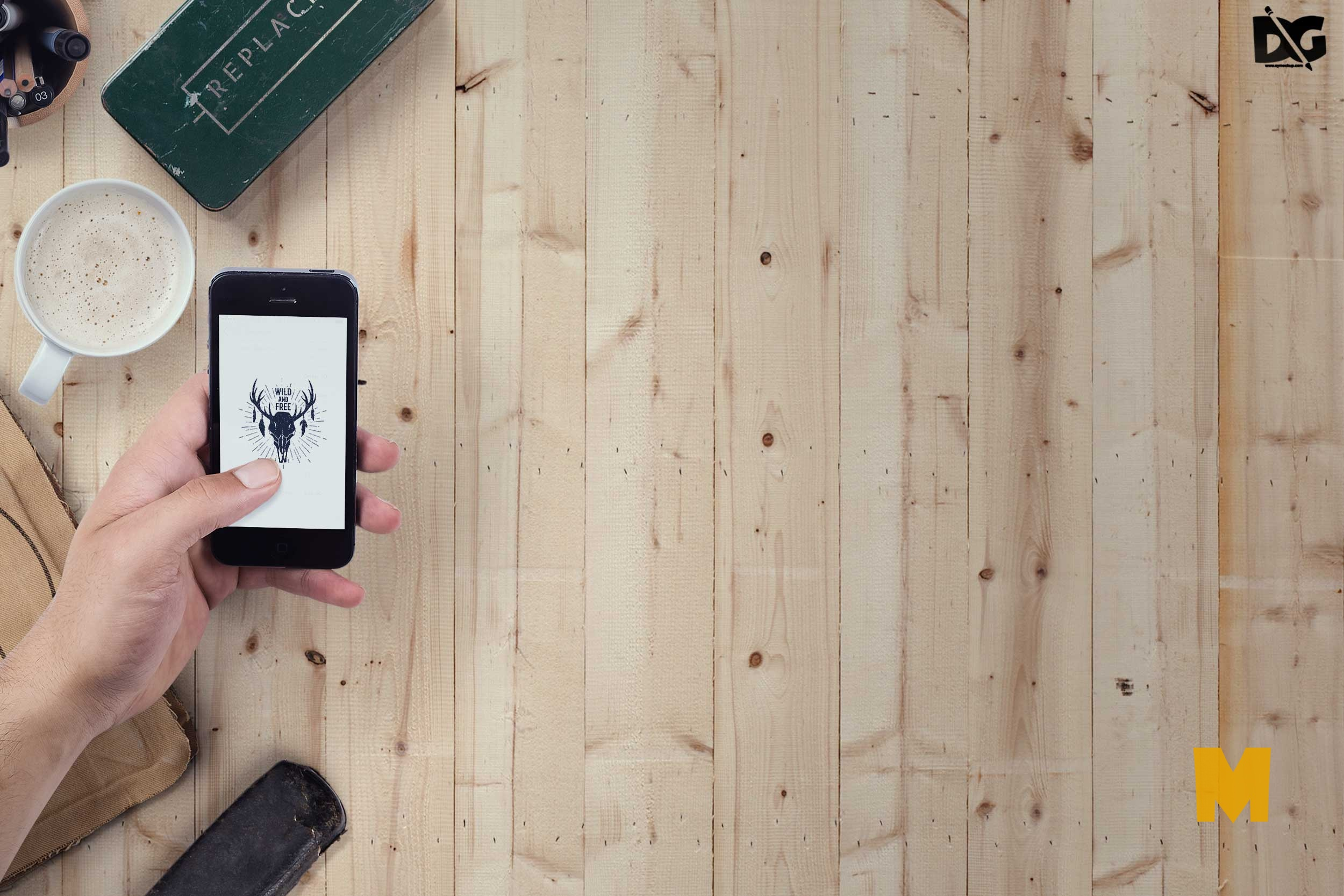 Free PSD iPhone on Wooden Table Mockup