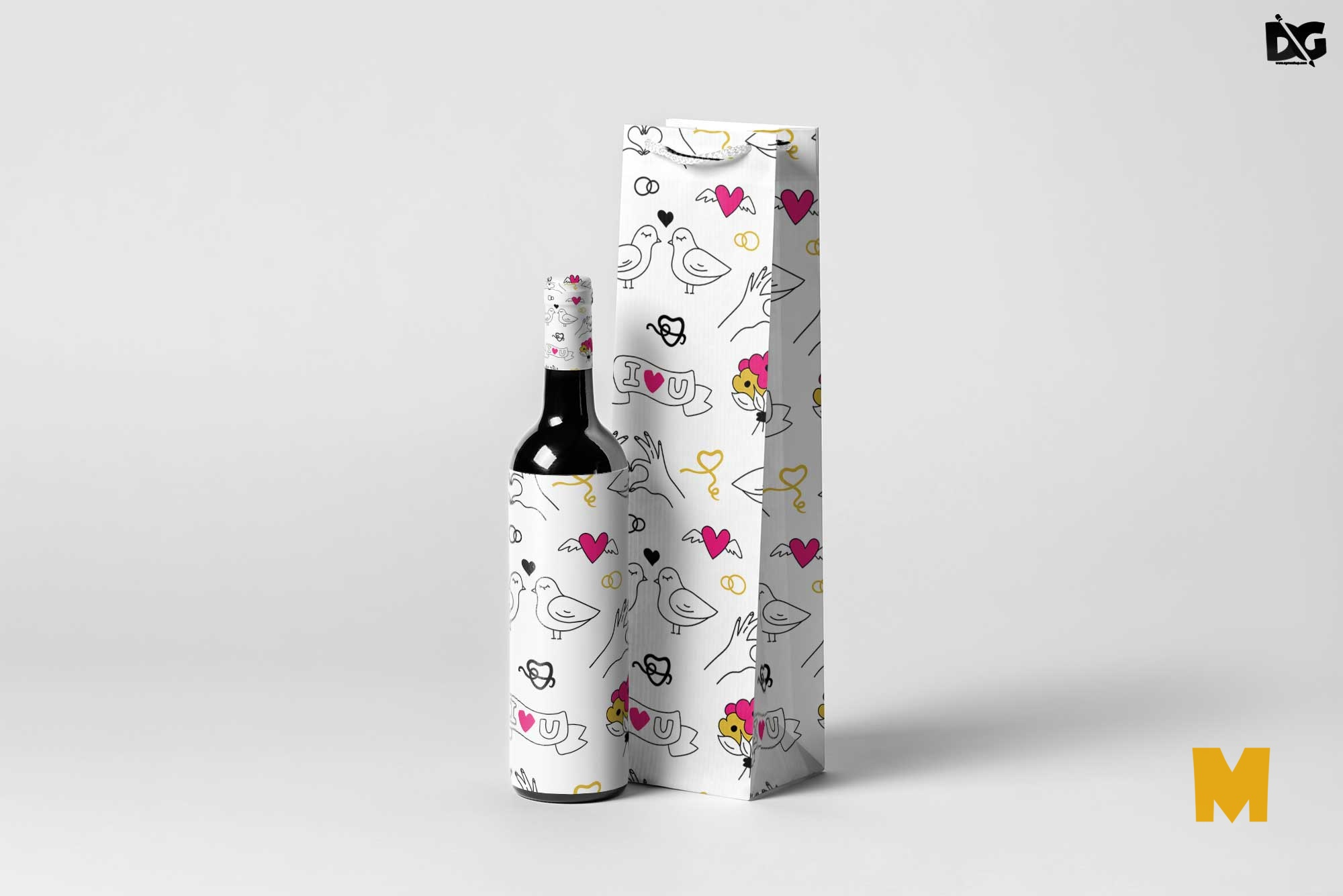 Free Bottle Wine Bag Mockup