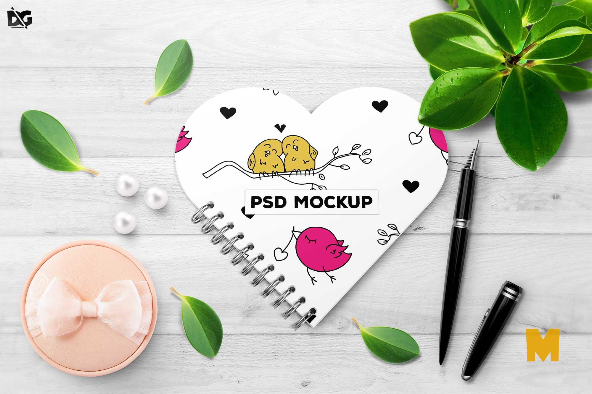 Free Heart Shape Cover Mockup Scene