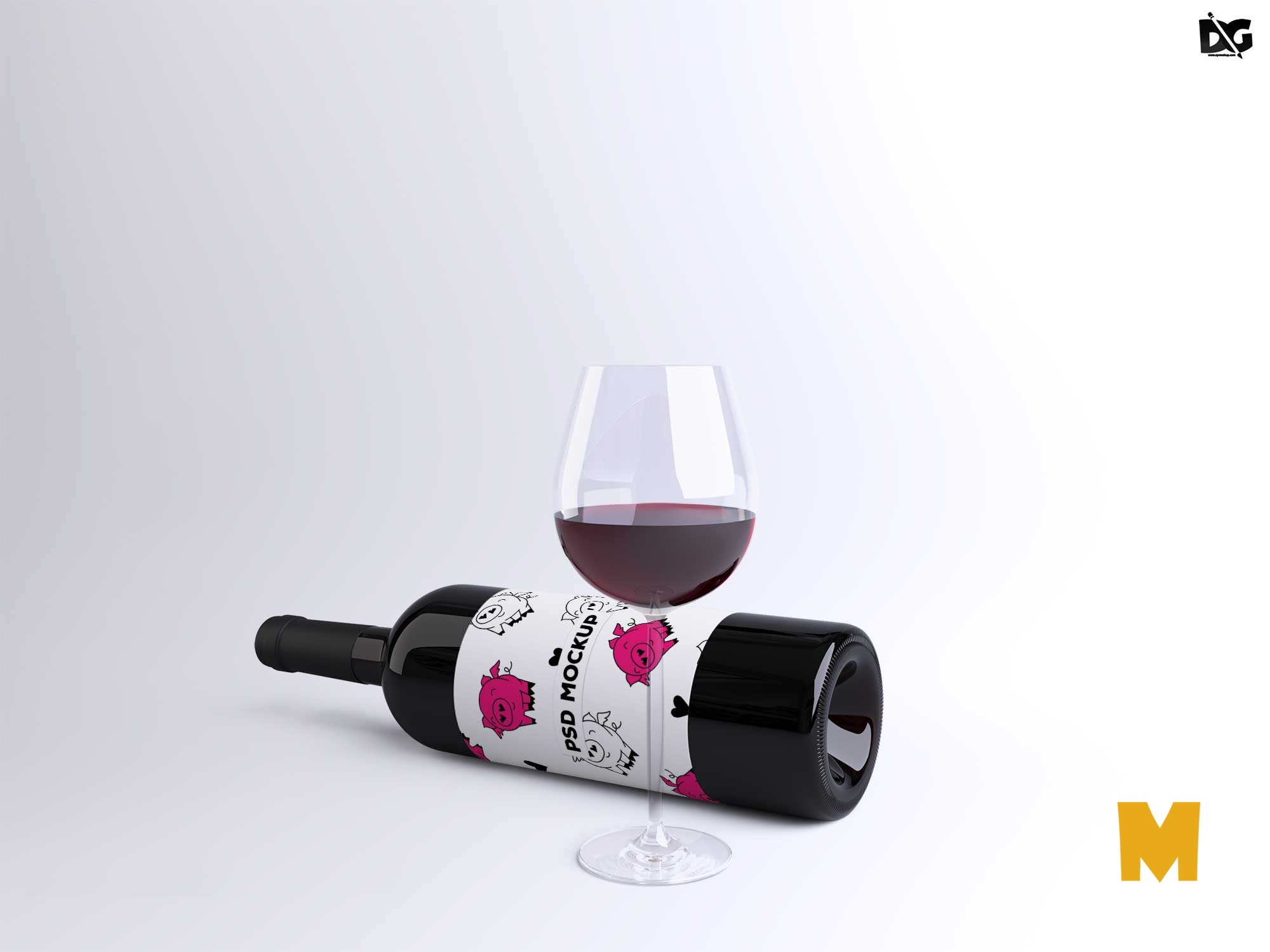 Premium Black Wine Label Mockup
