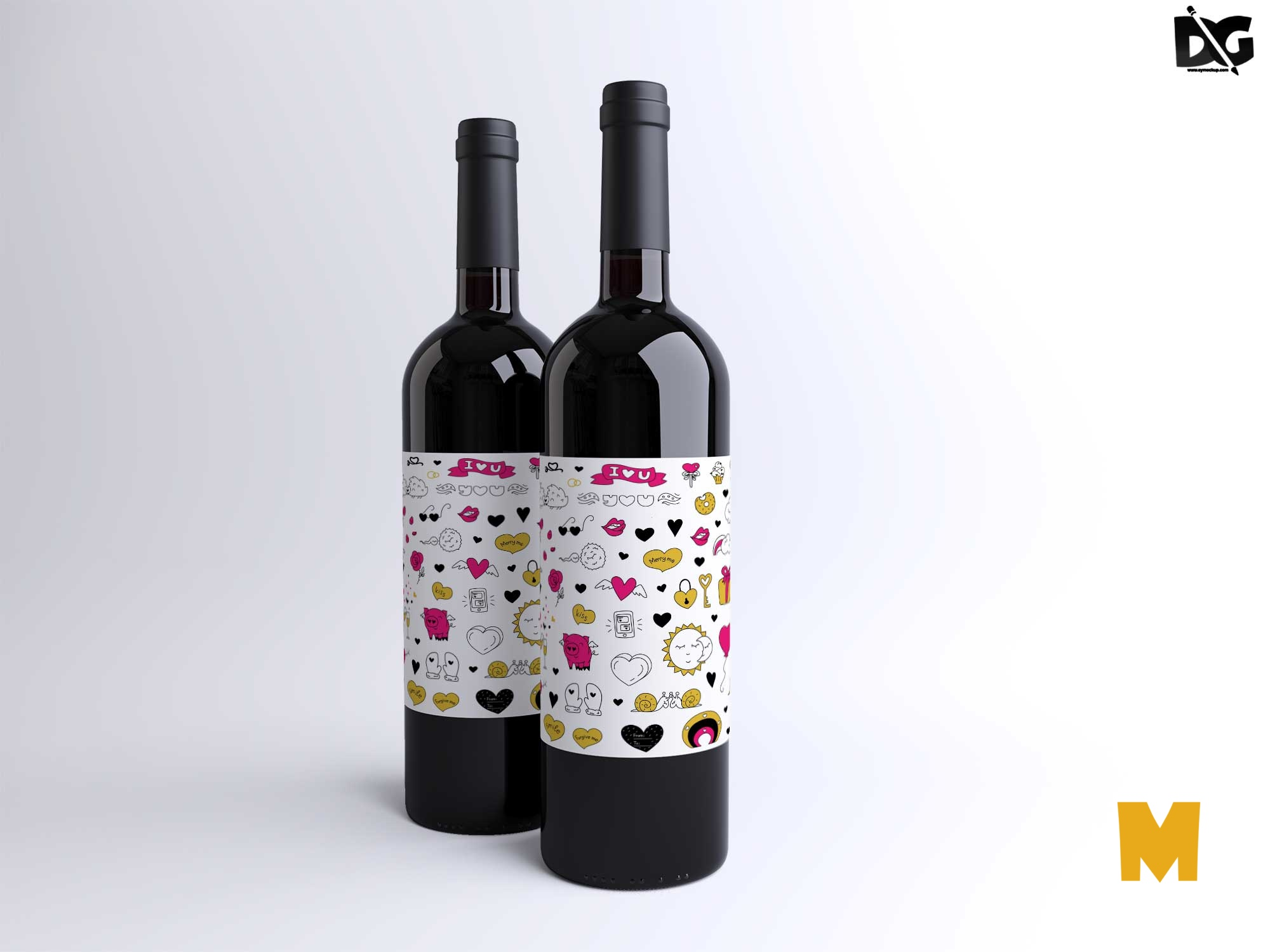 Free Wine Bottle Mockup