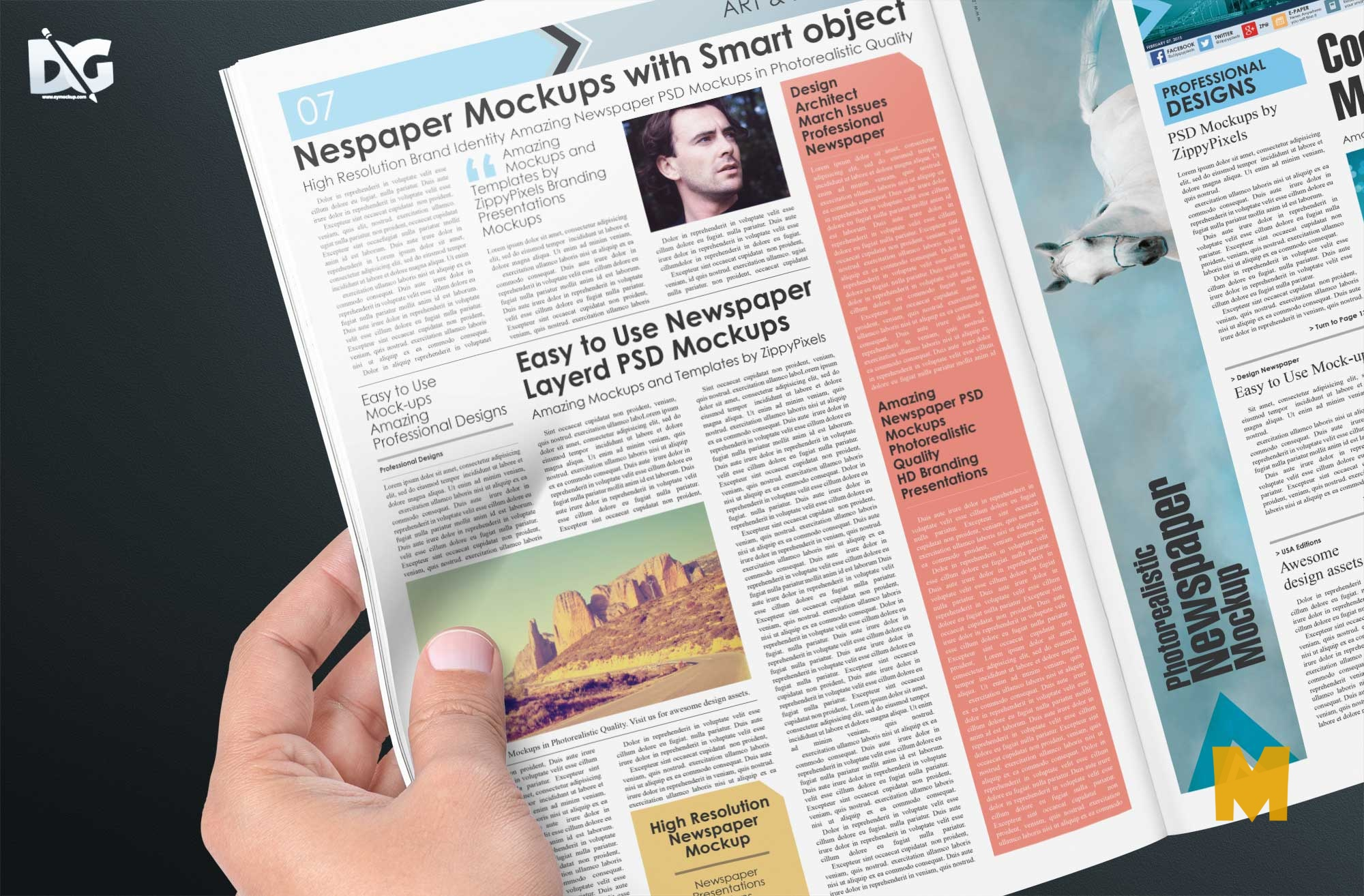 Free Download News Magazine Pages PSD Mockup