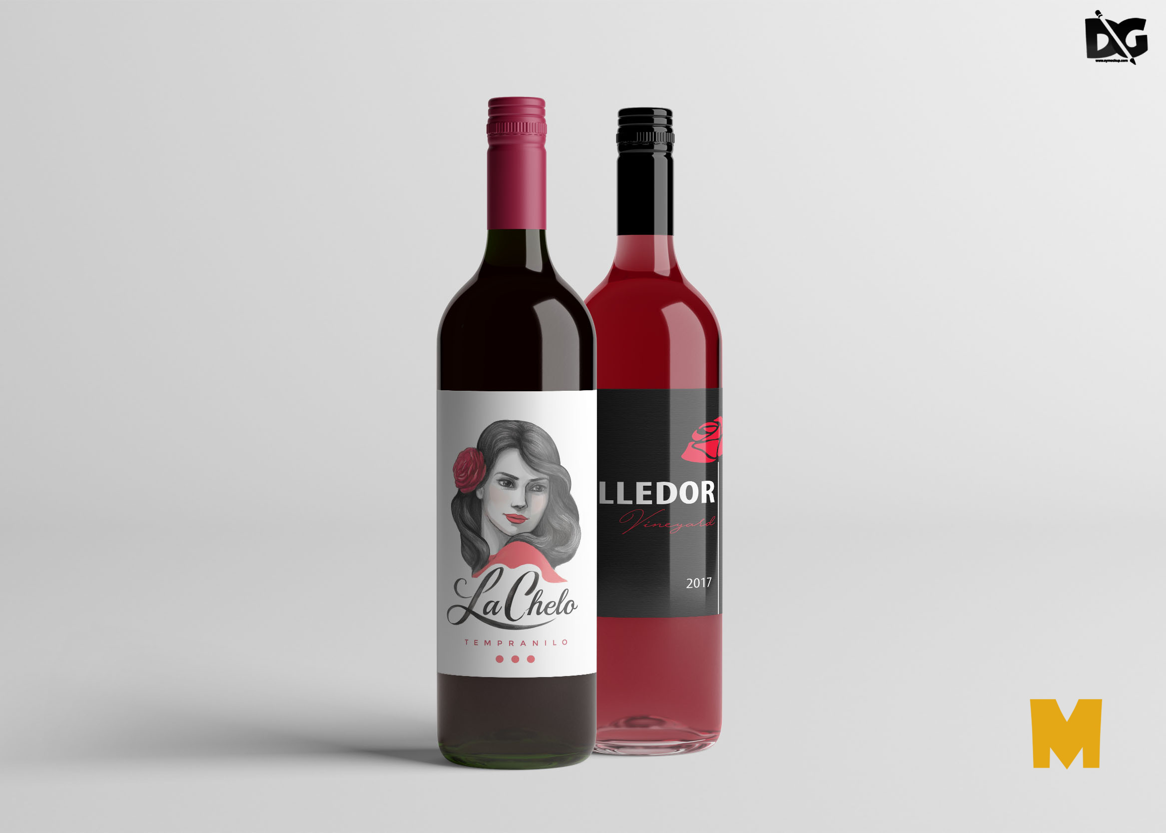 Free Bottle Label Mockup