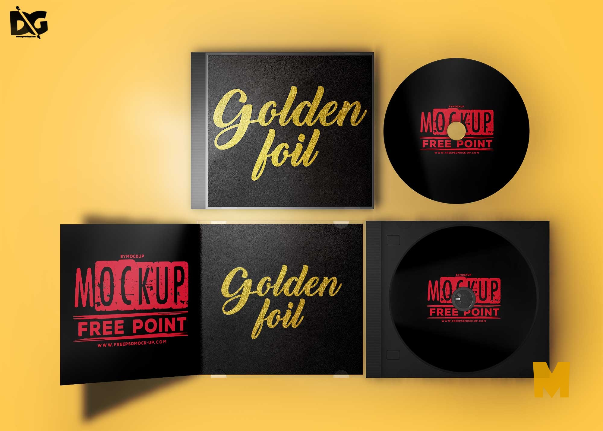 Free PSD Golden Foil CD Cover Mockup