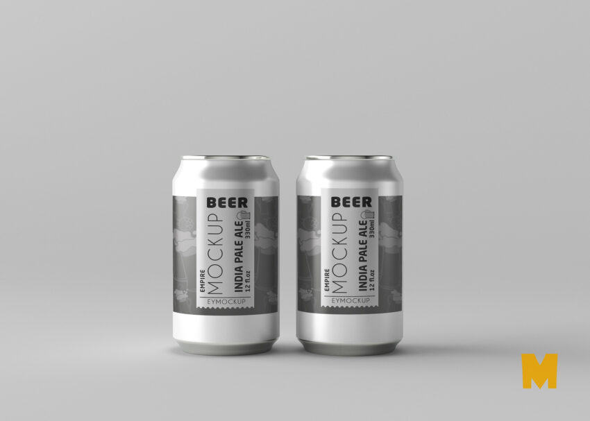 Small Beer Can Label Mockup For Presentation