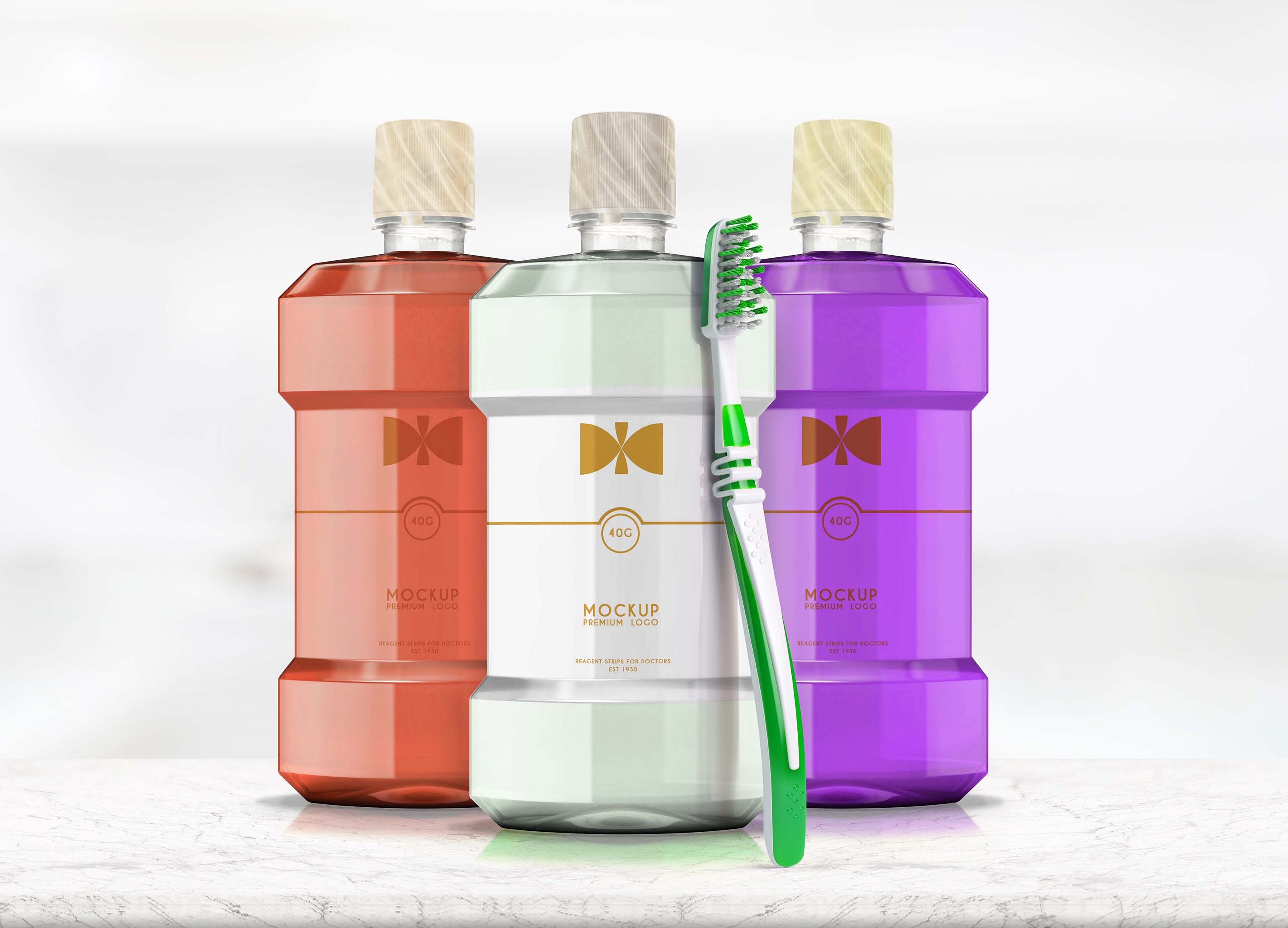 Brush Clean Bottle Mockup