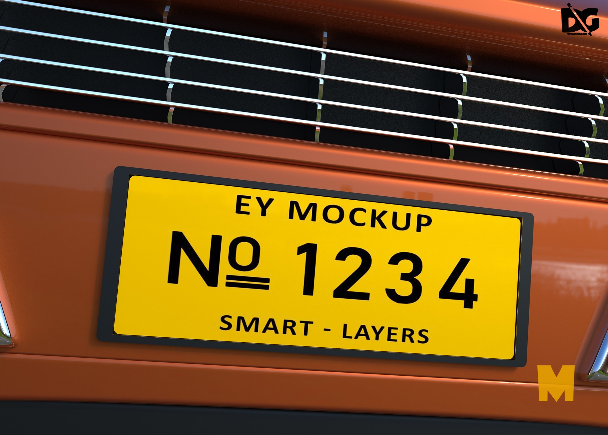 Download Car Plate Design Mockup