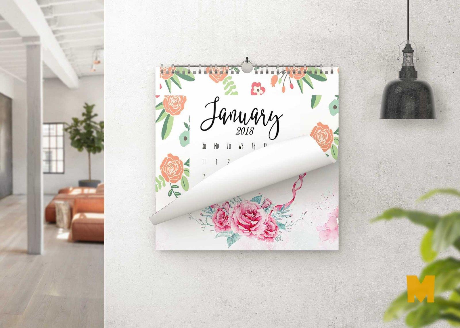 Wall Hanging Calendar Design Mockup