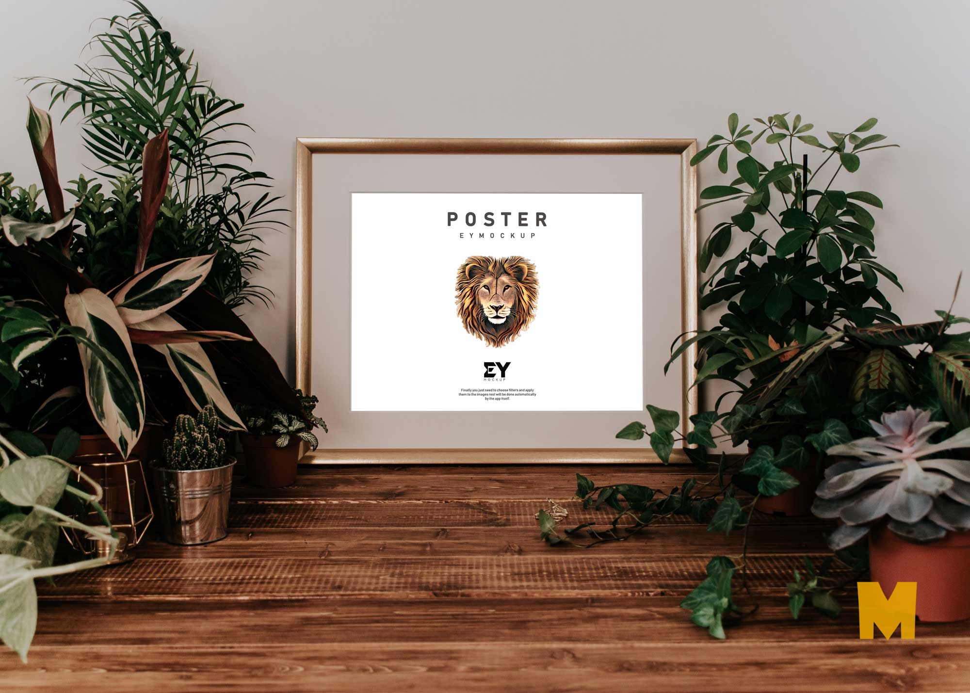 New Horizontal Gold Frame Poster Mockup