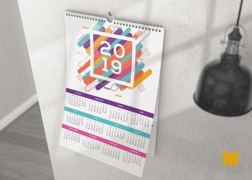 Free Wall Calendar Designs Mockup