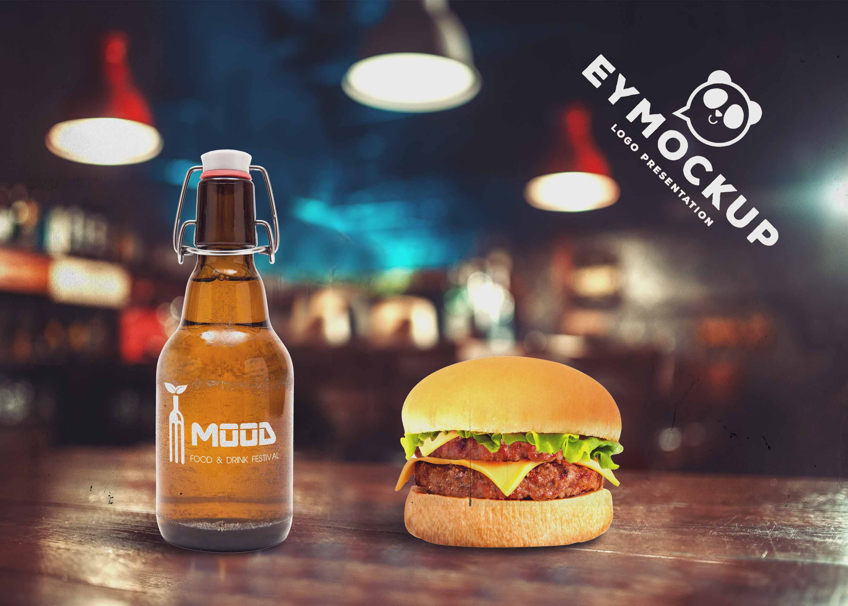 Free Beer Bottle Burger Cafe Scene Mockup