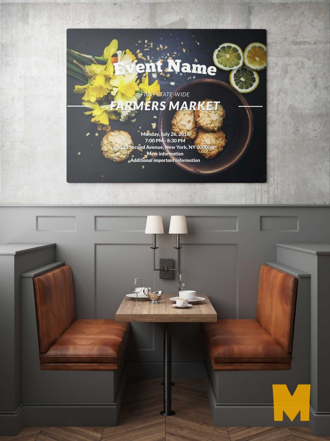 Free Download Restaurant Wall Poster Mockup