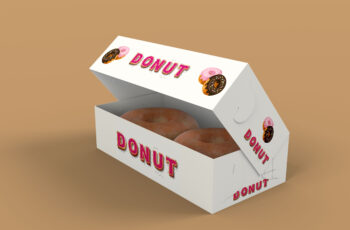 Free Open Donut Paper Box Mockup