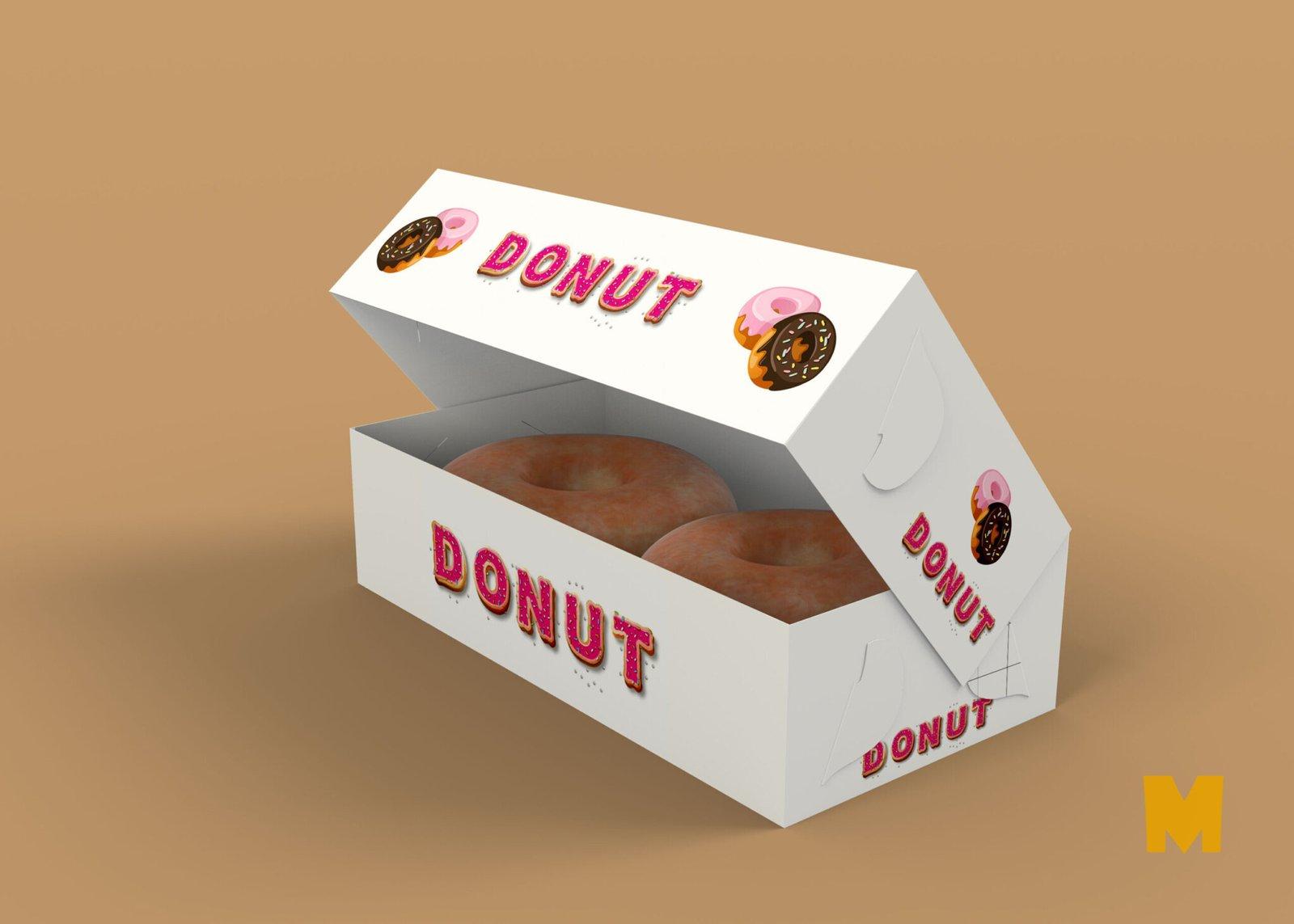 Free Open Donut Paper Box Mockup