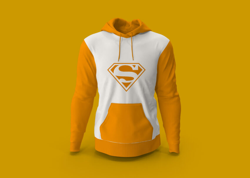 Free Superman Pullover Hoodie Jacket Design Mockup
