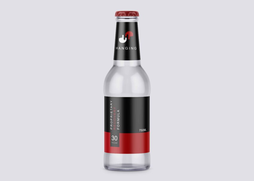 New Transparent Small Beer Bottle Mockup