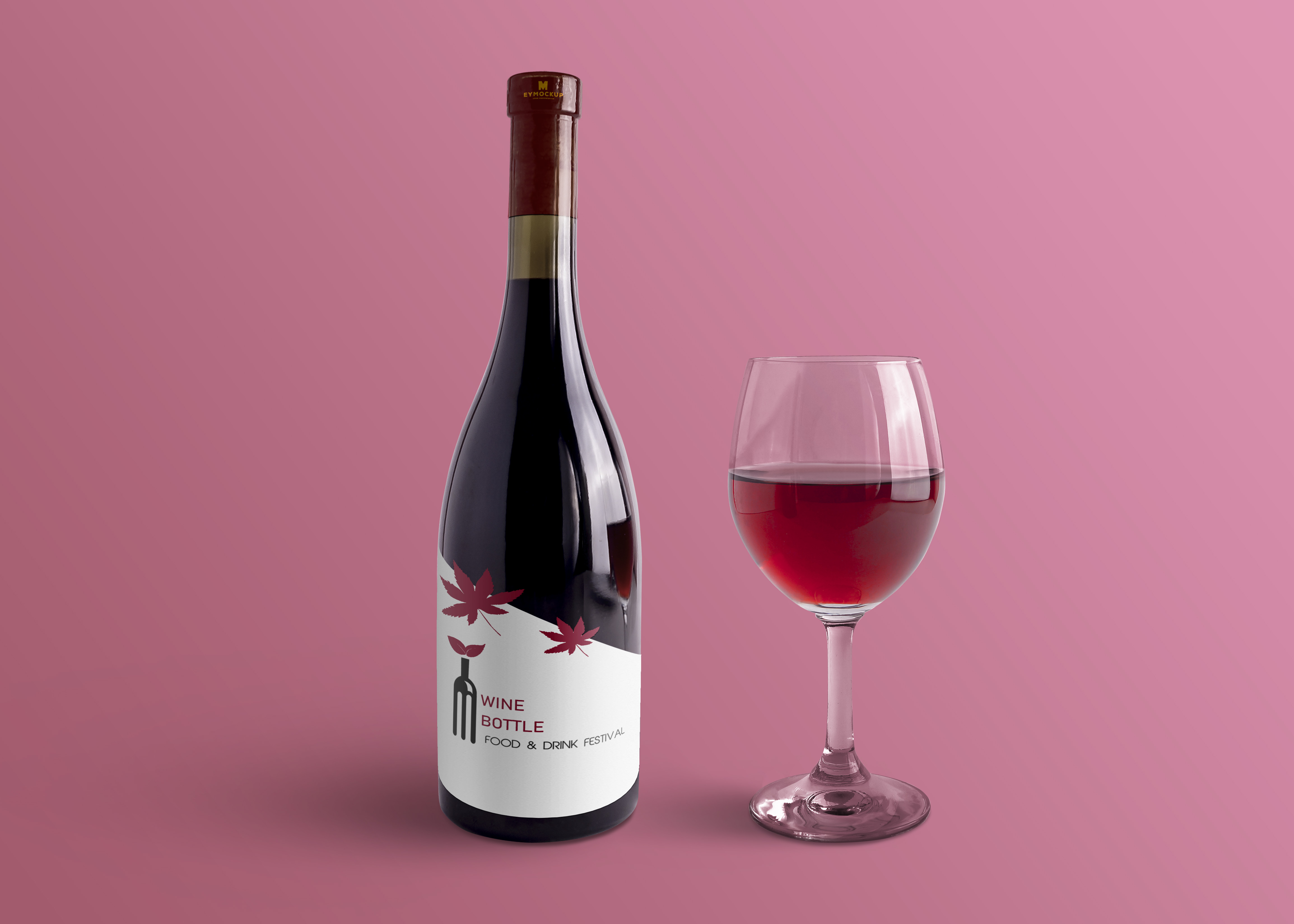 Premium Red Wine Bottle Label Mockup