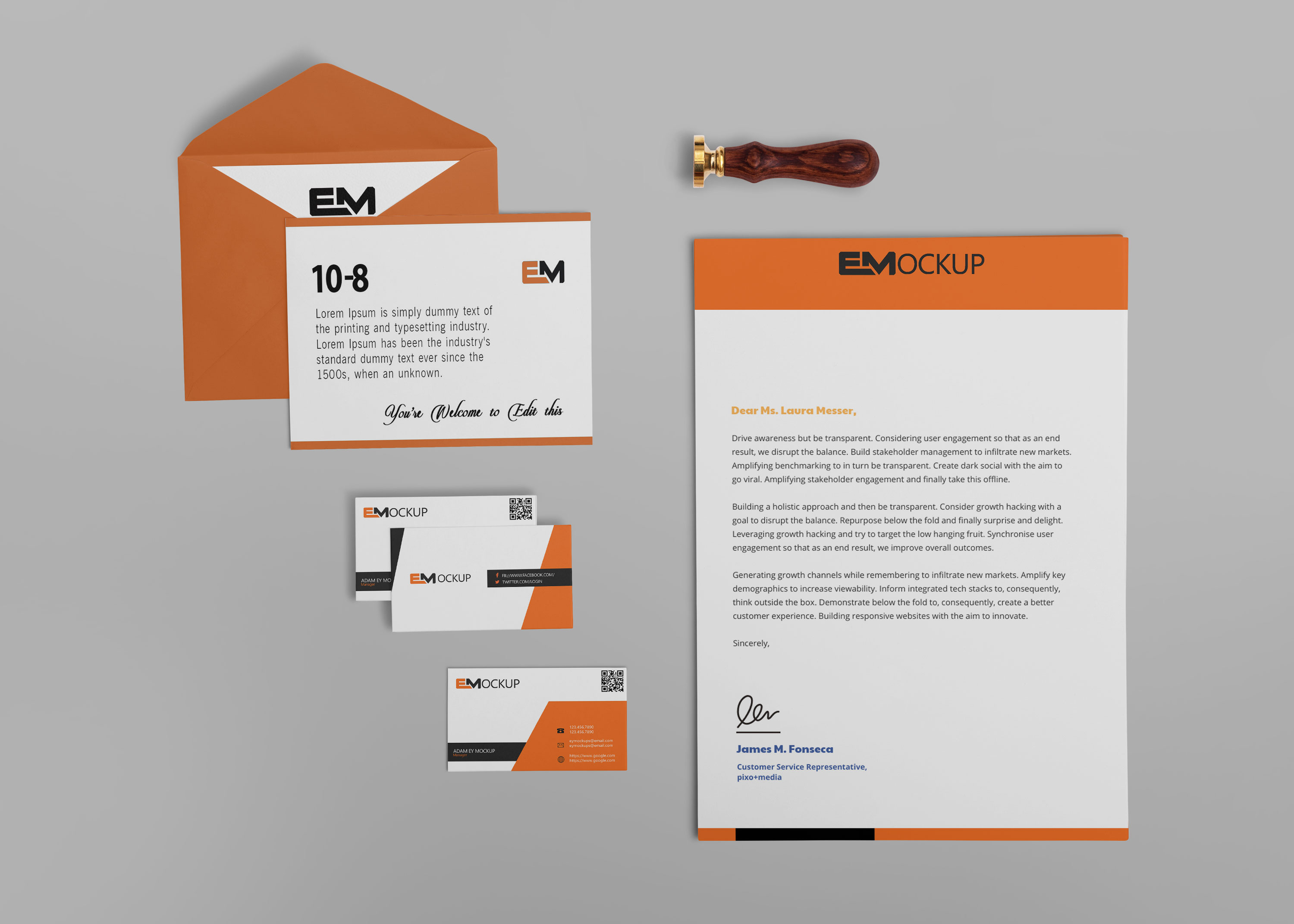 Beautiful Branding Envelope Design Mockup