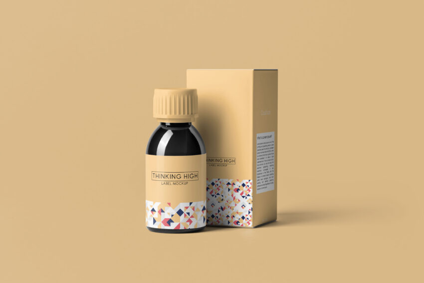 Free Syrup Bottle Packaging Mockup