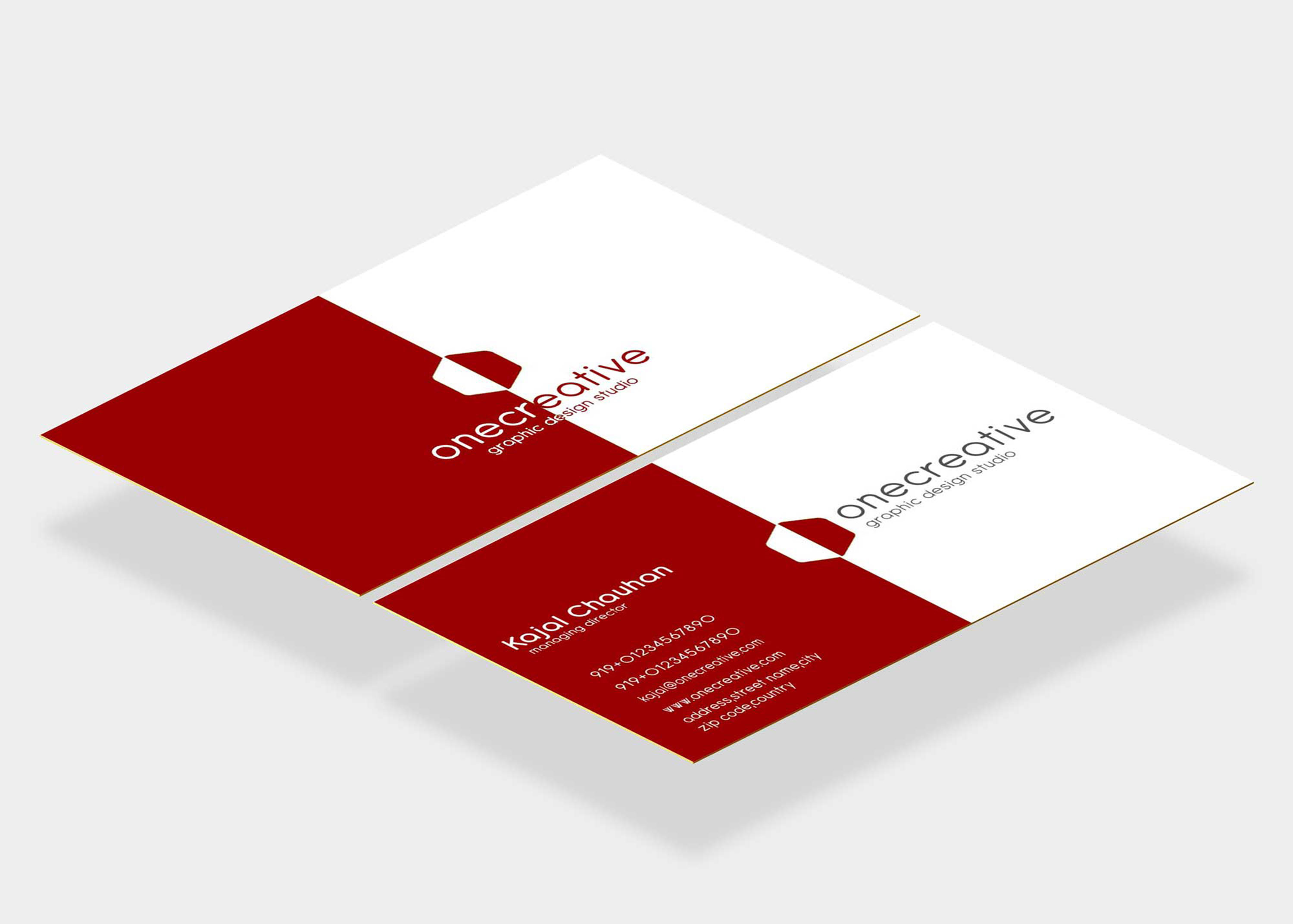 Red Beautiful Business Card Mockup