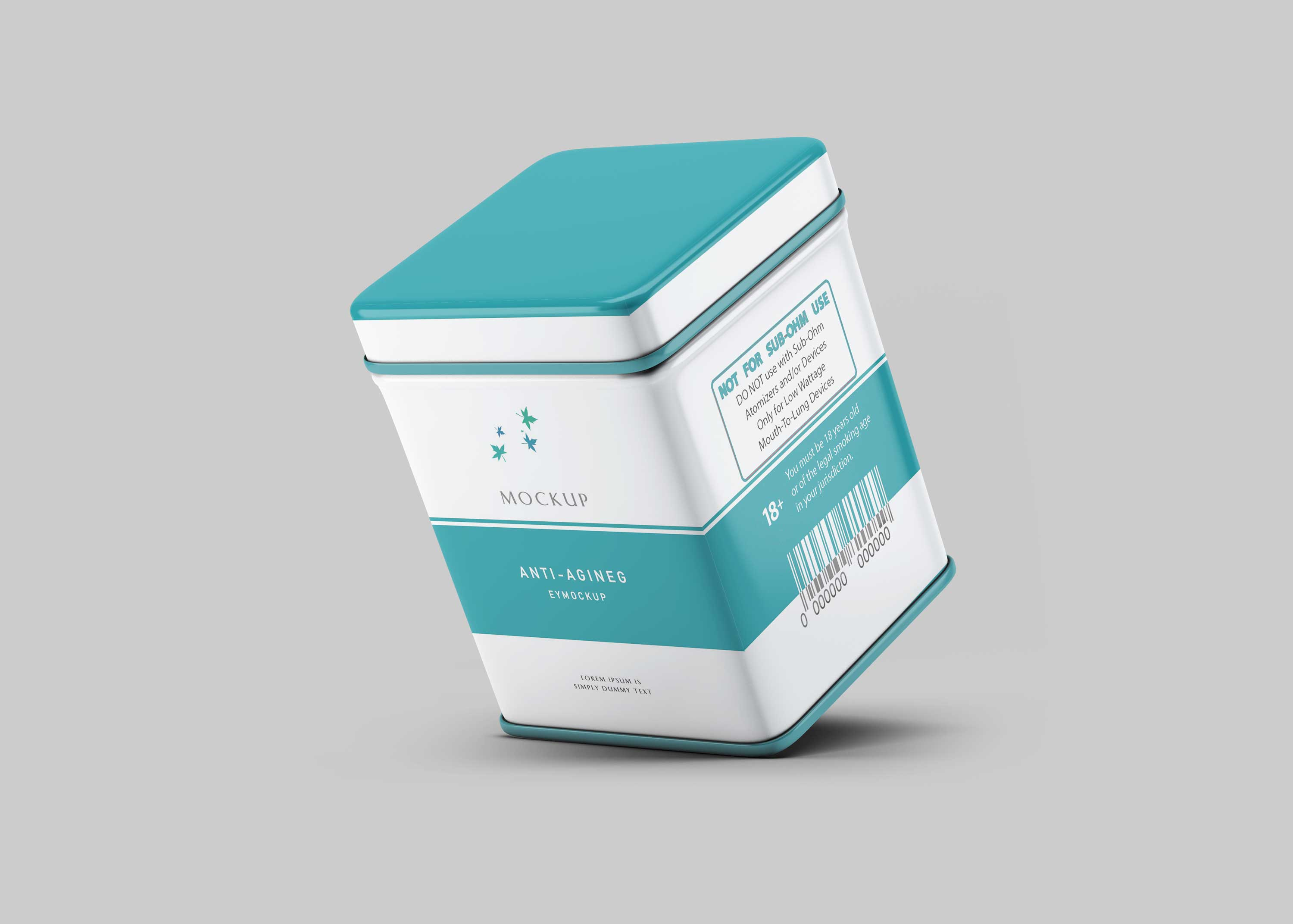 Square Tin Can Mockup