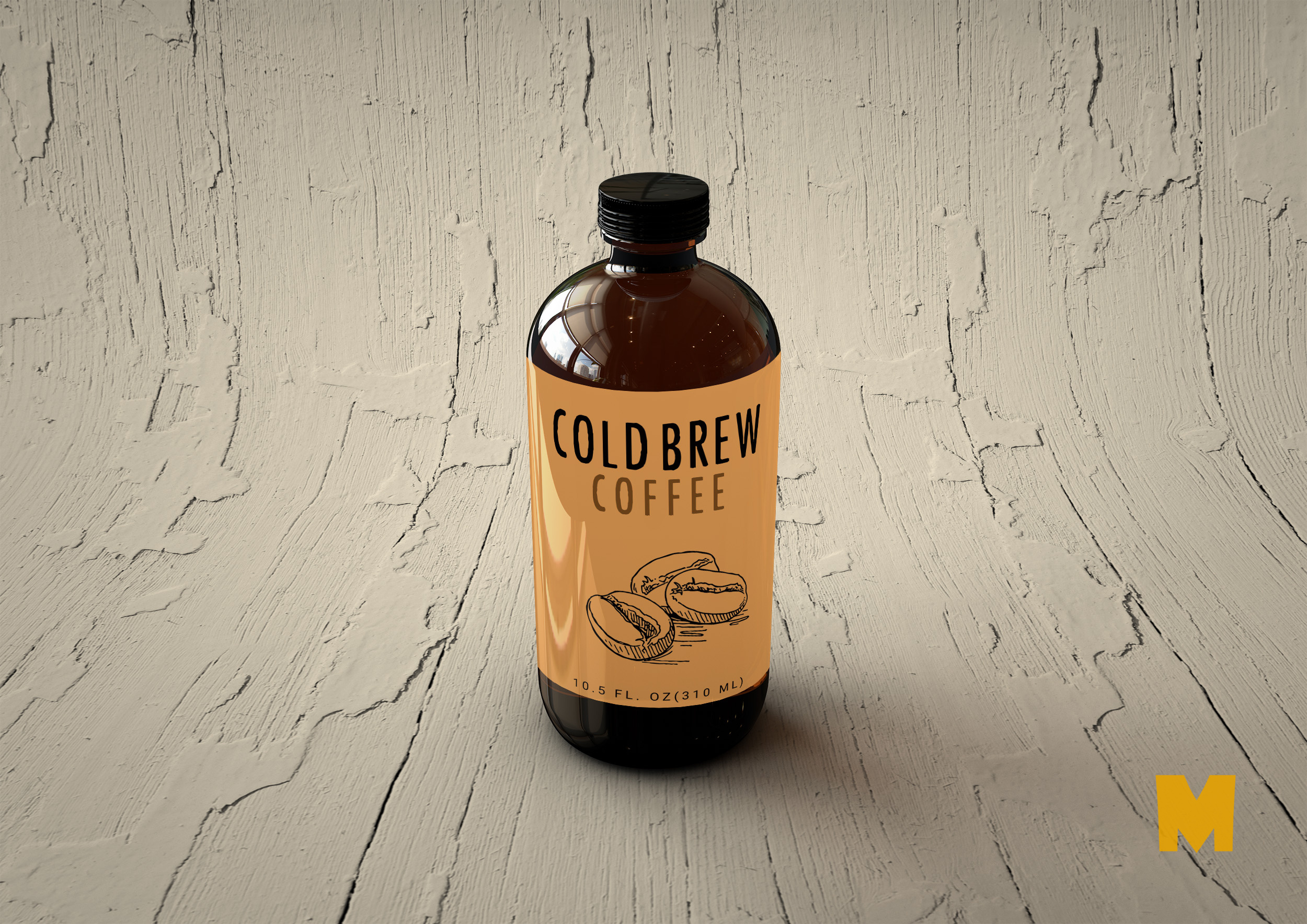 Free Cold Brew Coffee Bottle Label MockUp