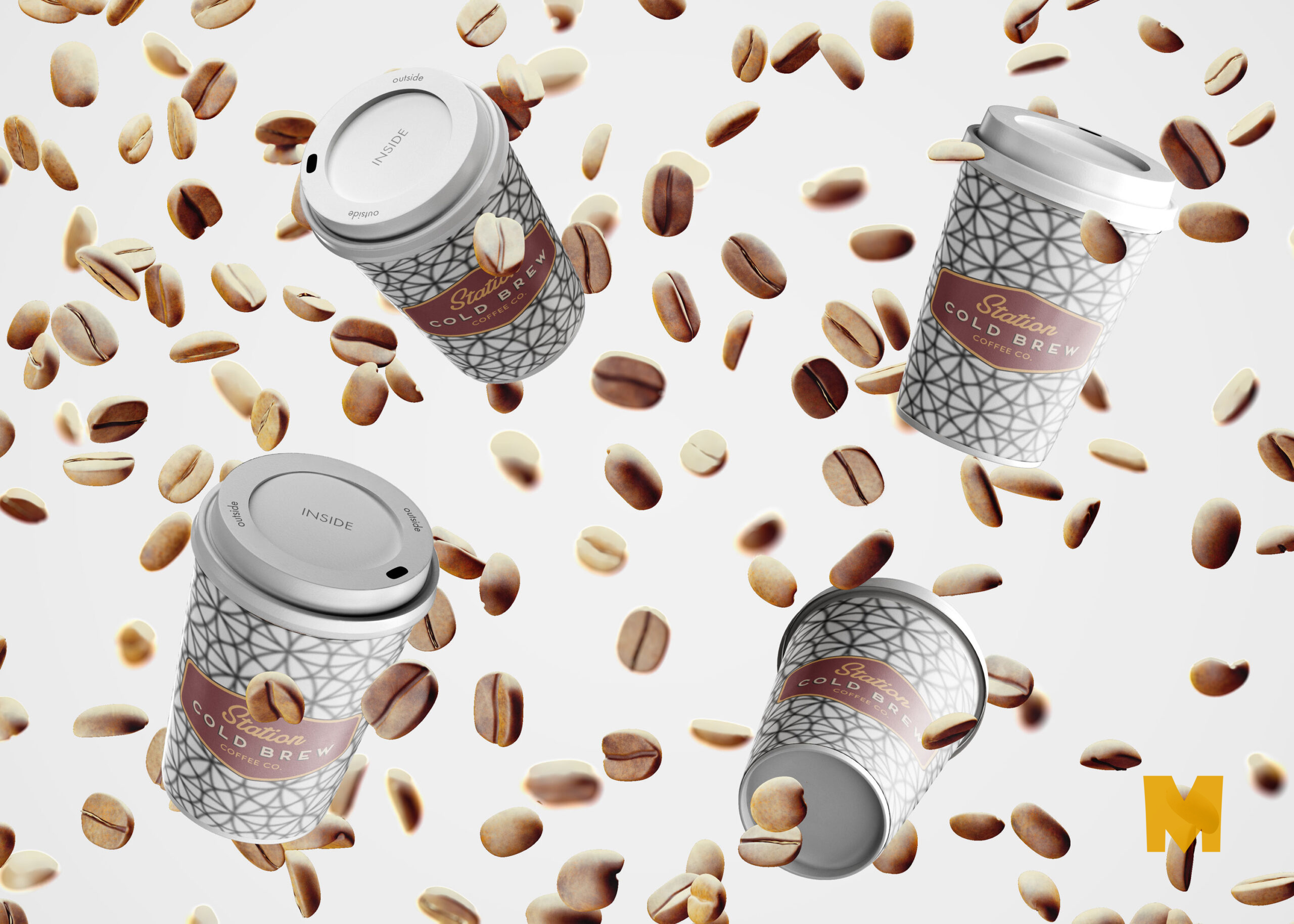 Free Cold Coffee Cans Packaging Mockup