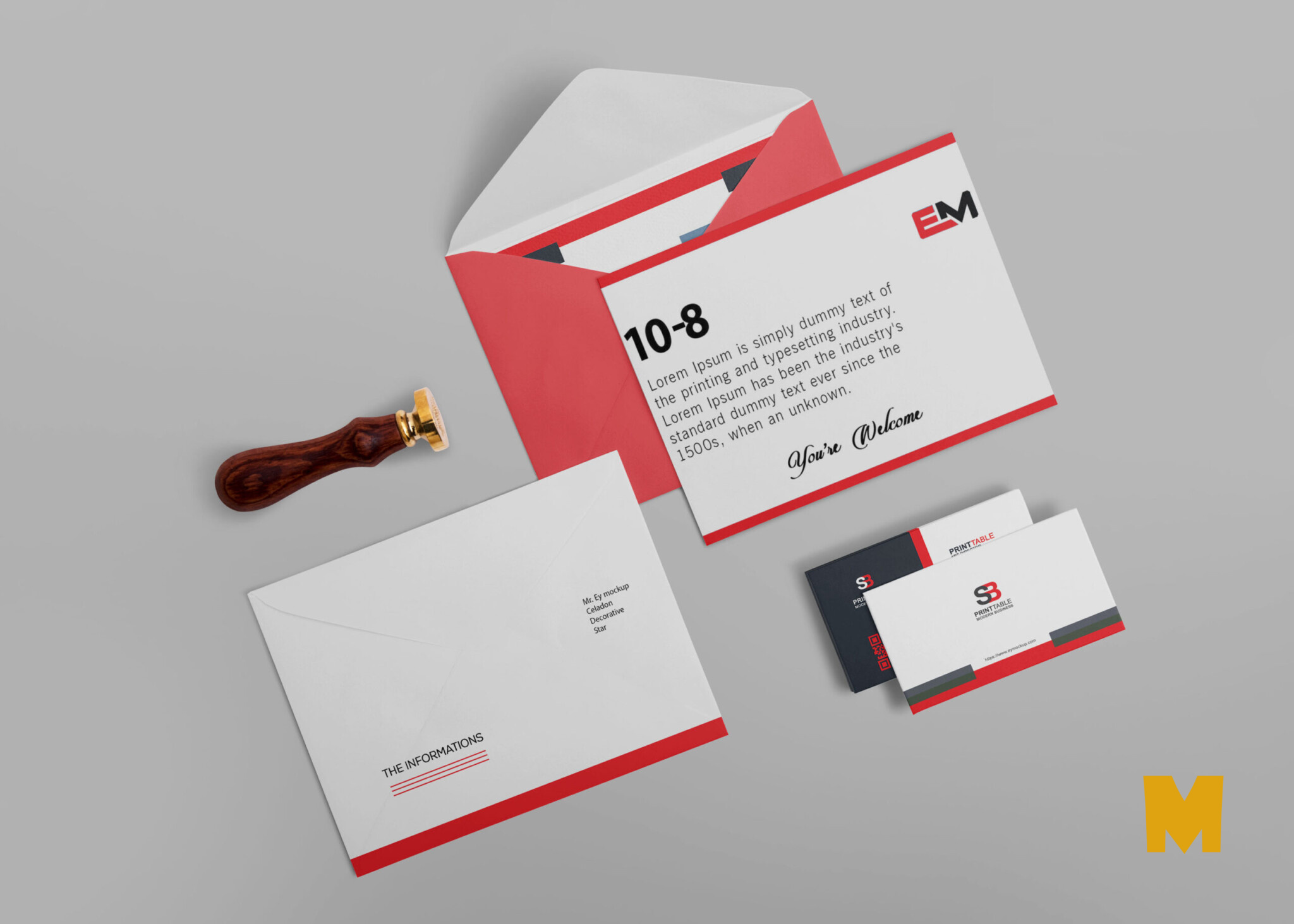 Free Envelope Business Card Mockup