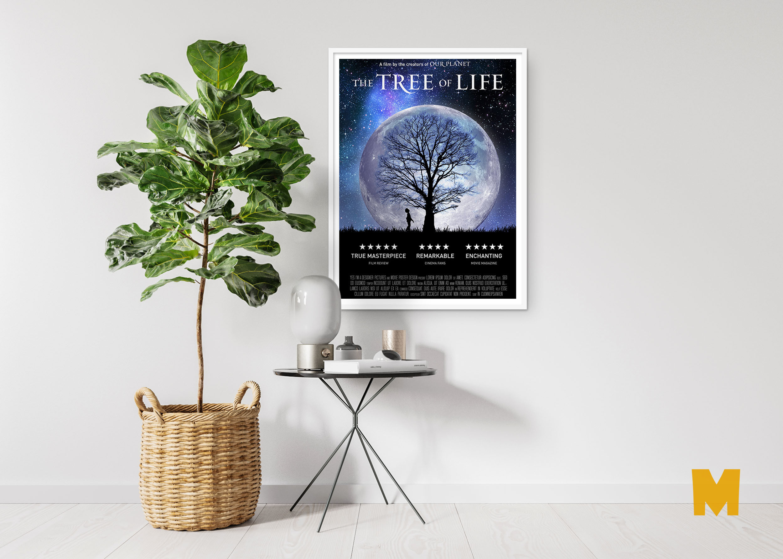 Free Flower Pot Back Wall Poster Mockup