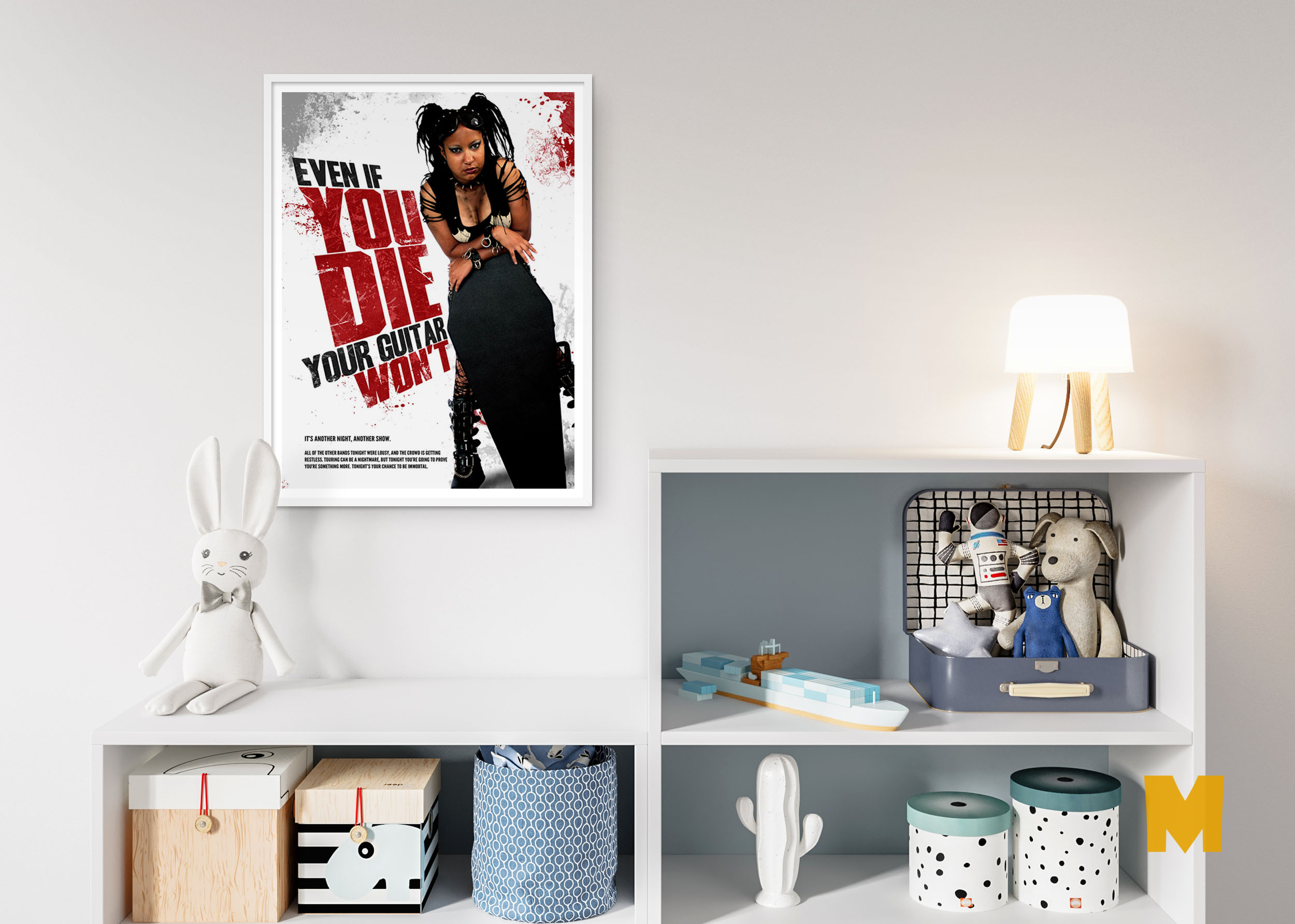 Free Living Room PSD Poster Mockup For Behance